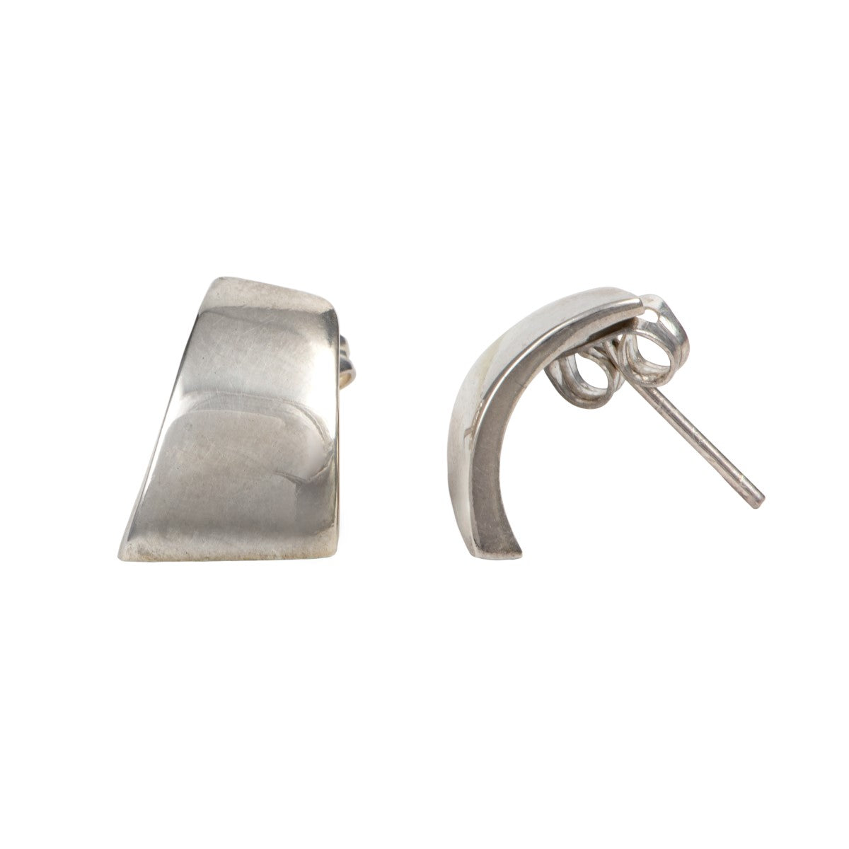 Sterling Silver Stud Earrings with a Curved Quadrilateral Shape