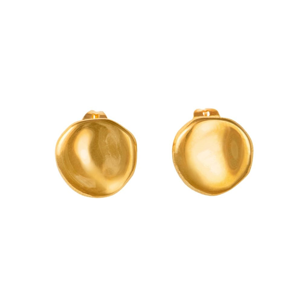 Gold Plated Silver Round Concave Shaped Studs