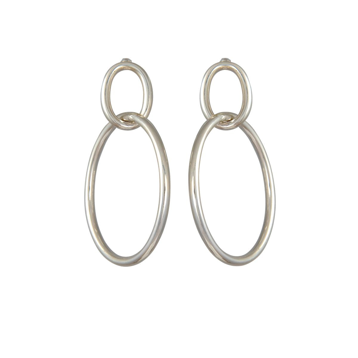 Two Interlinked Sterling Silver Hoop Earrings