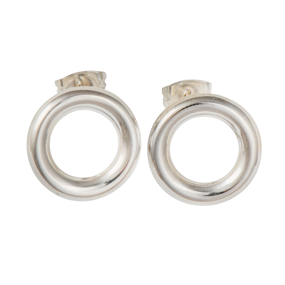 Round Hoop Shaped Silver Studs