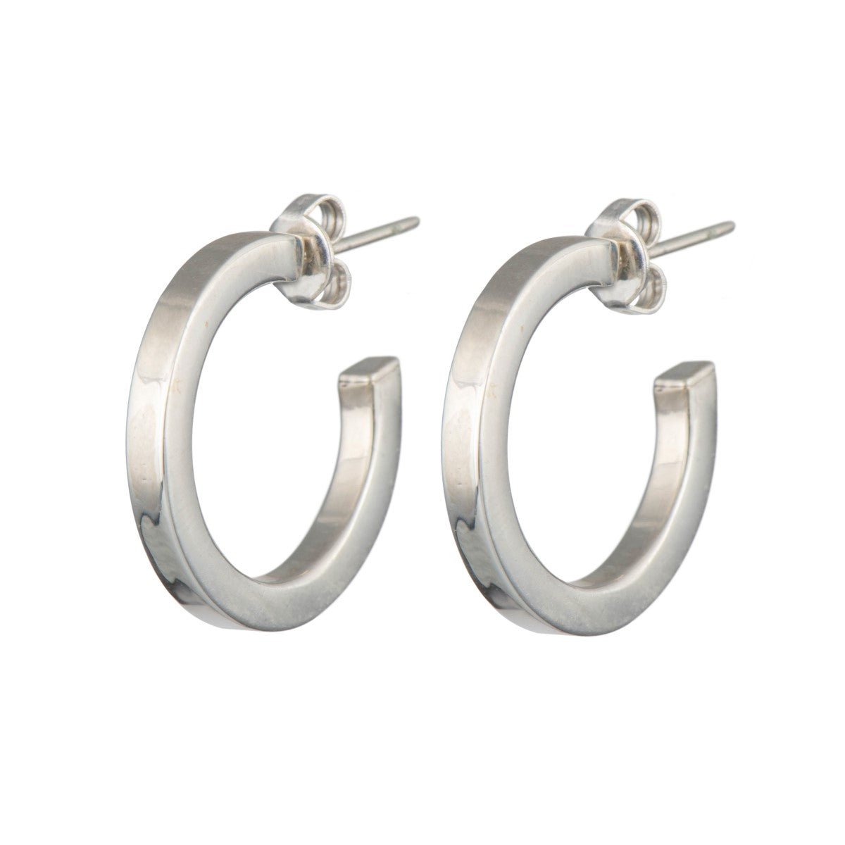 Sterling Silver Hoop Earrings with a Flat Square Edge