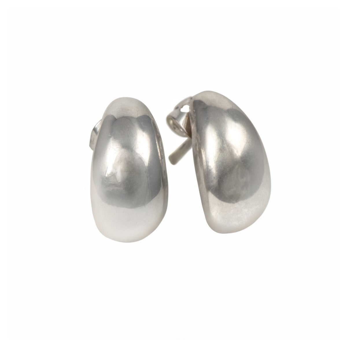 Sterling Silver Studs with a Curved Teardrop Shape