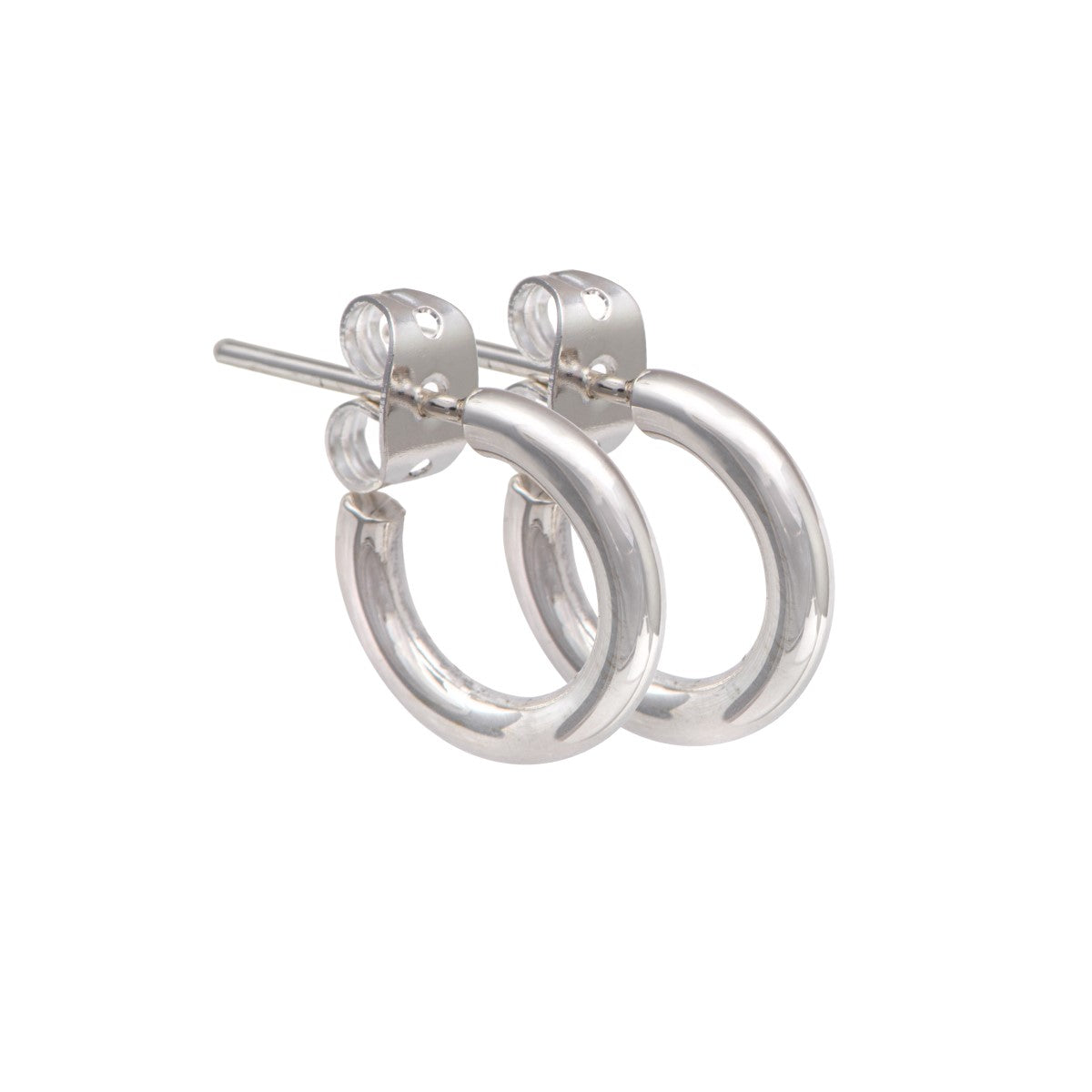 Small Sterling Silver Hoop Earrings with a Rounded Edge