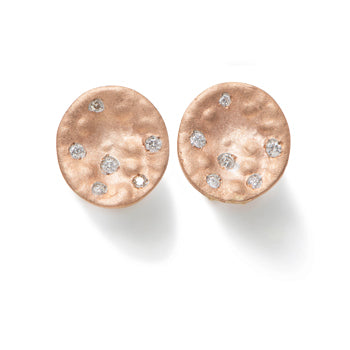 Earrings in 9k Rose Gold with Diamonds