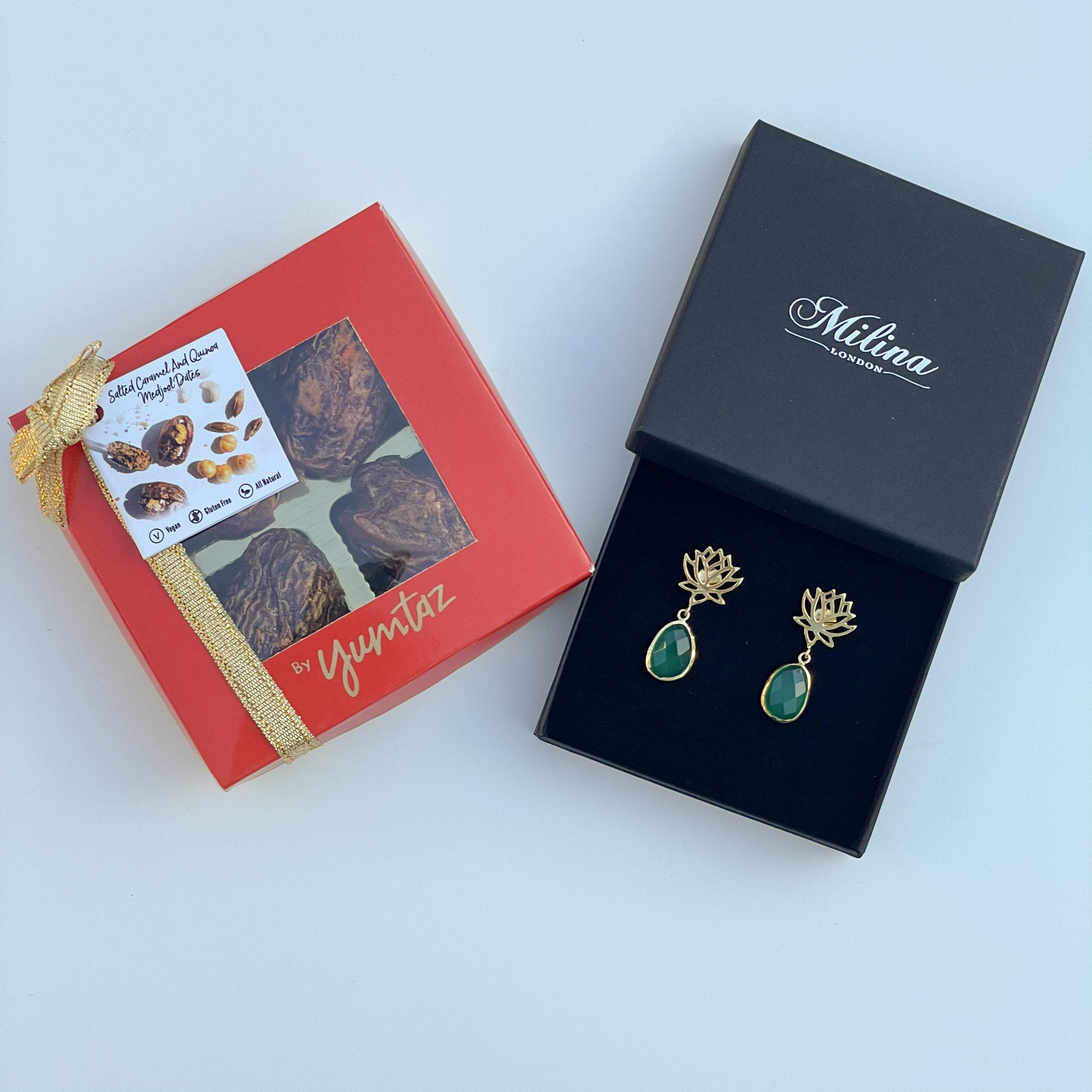 Green Onyx Lotus Earrings in Gold Plated Sterling Silver with a box of 4 Stuffed Medjool Dates