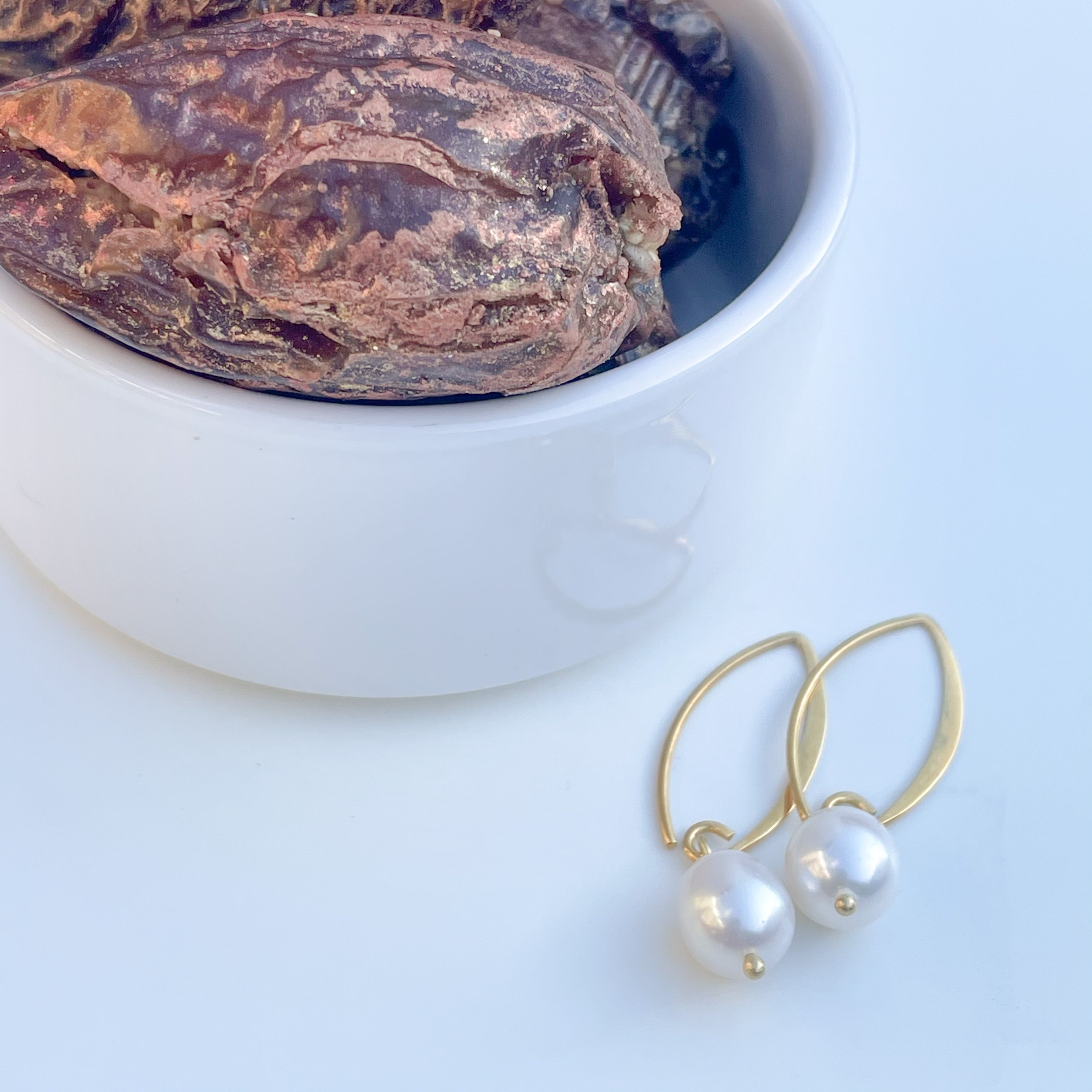 Pearl Drop Earrings in Gold Plated Sterling Silver with a box of 4 Stuffed Medjool Dates