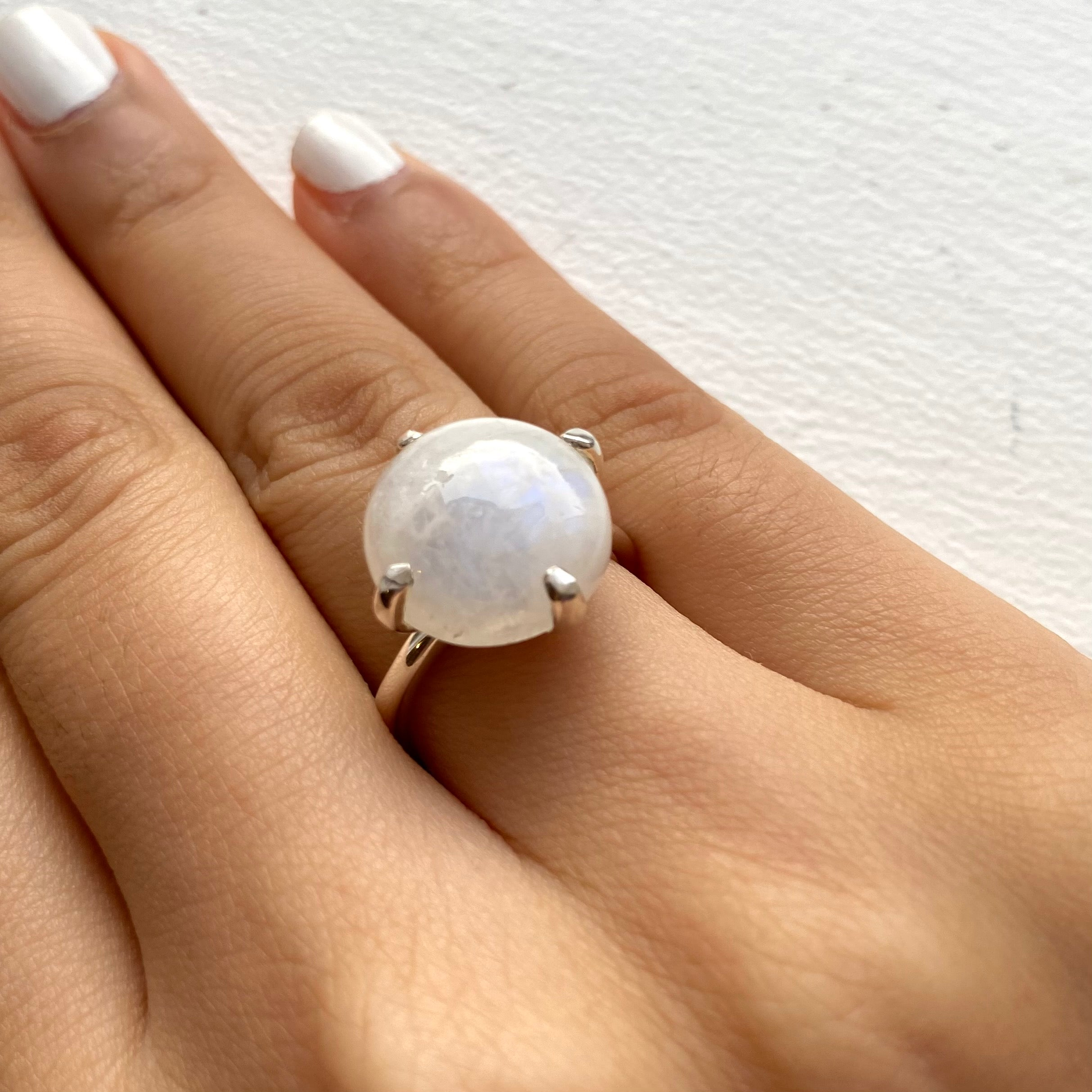 Round Cabochon Moonstone Ring in Sterling Silver