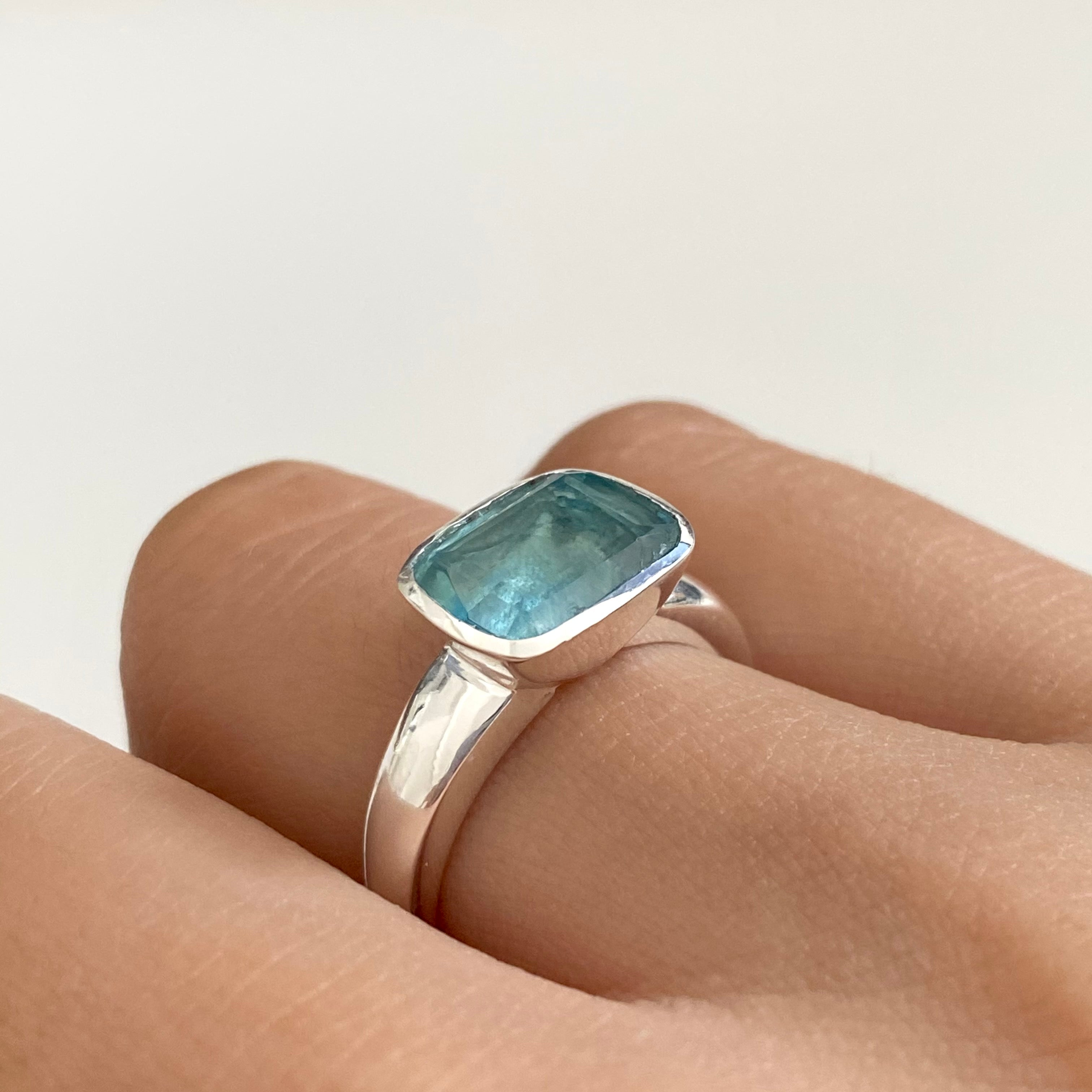 Faceted Rectangular Cut Natural Gemstone Sterling Silver Ring - Apatite