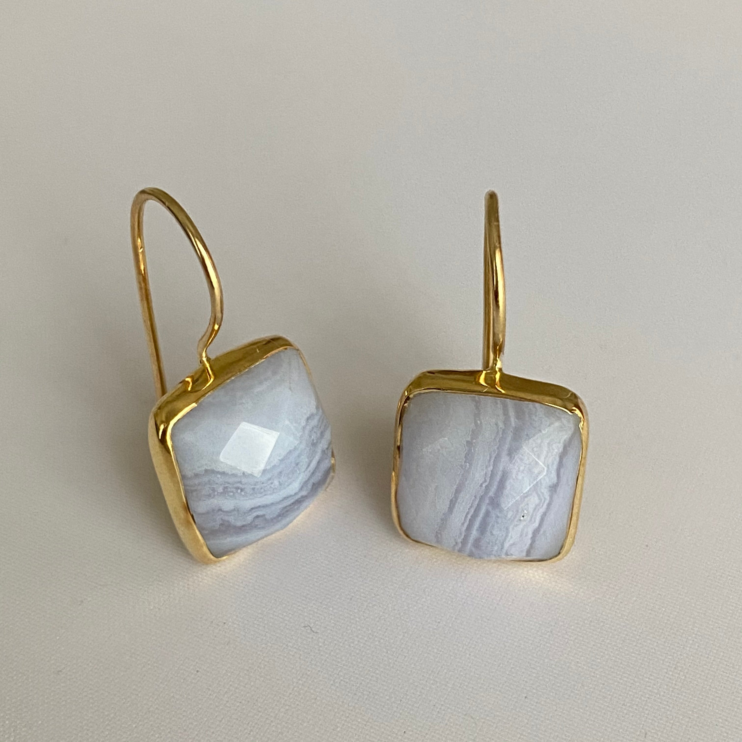 Gold Plated Sterling Silver Square Gemstone Earrings - Blue Laced Agate