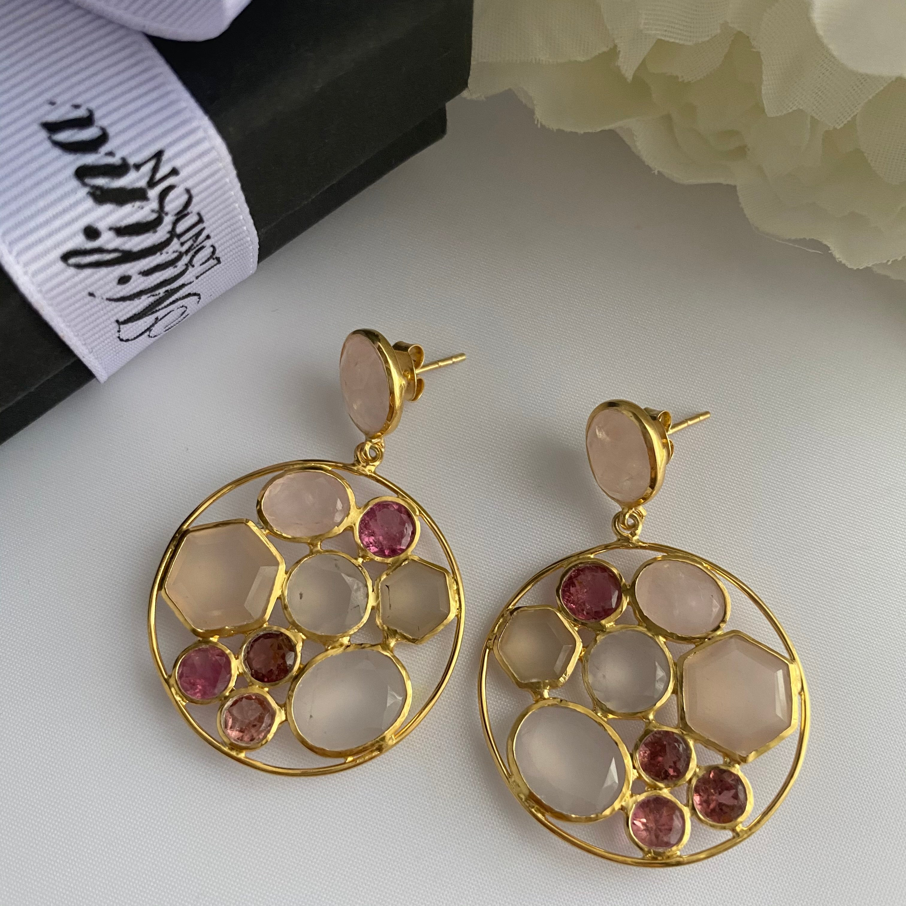 Long Gemstone Earrings with a Round Disc Drop with Stones in Gold Plated Sterling Silver - Rose Quartz and Pink Chalcedony