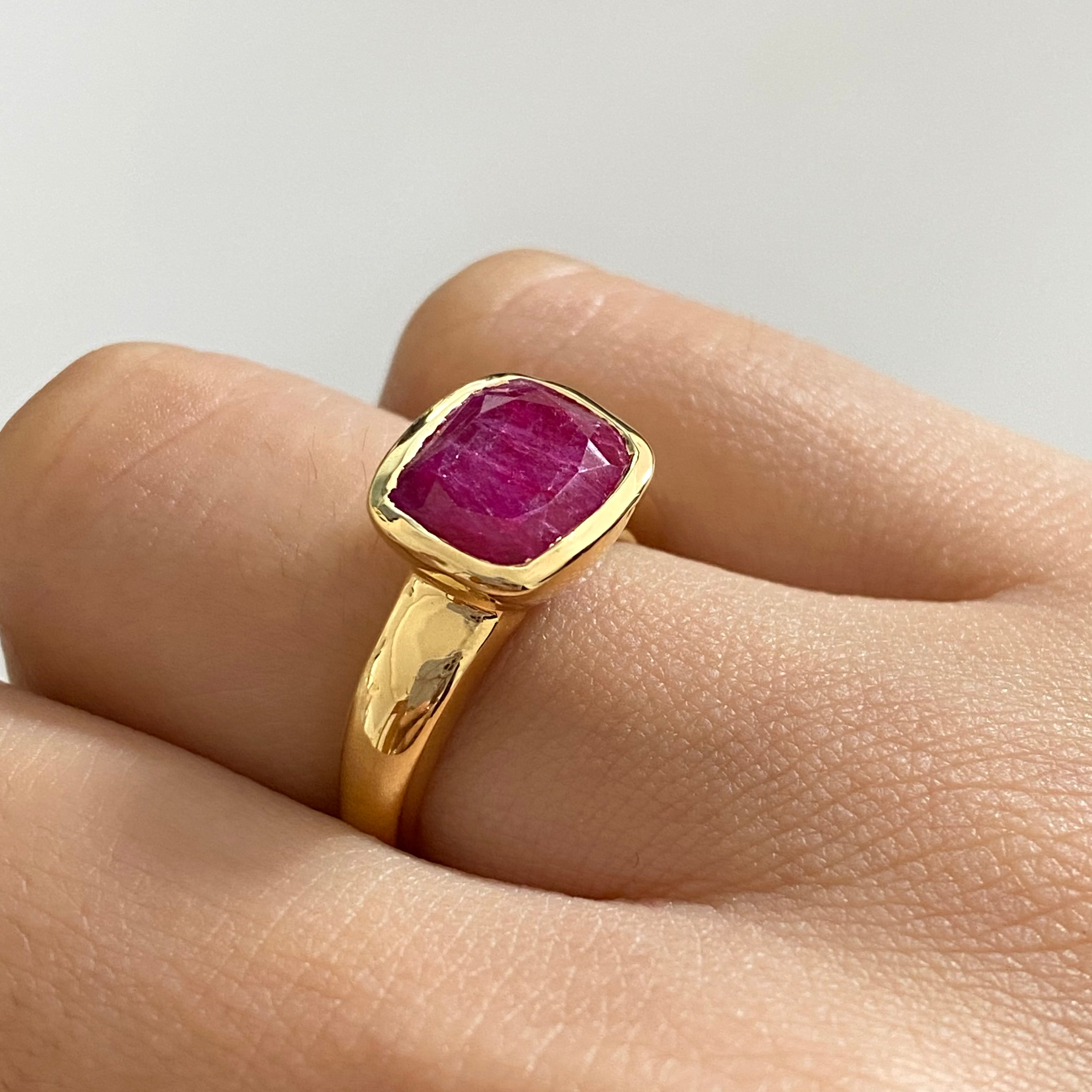 Faceted Rectangular Cut Natural Gemstone Gold Plated Sterling Silver Ring - Ruby Quartz