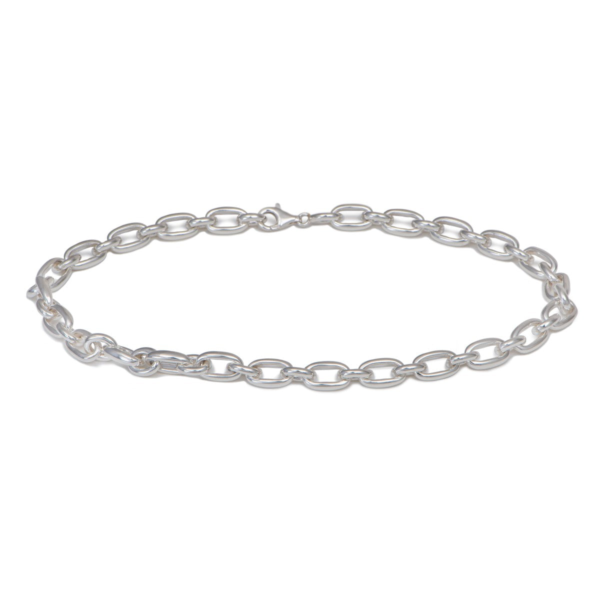 Statement Sterling Silver Link Necklace with Oval Links