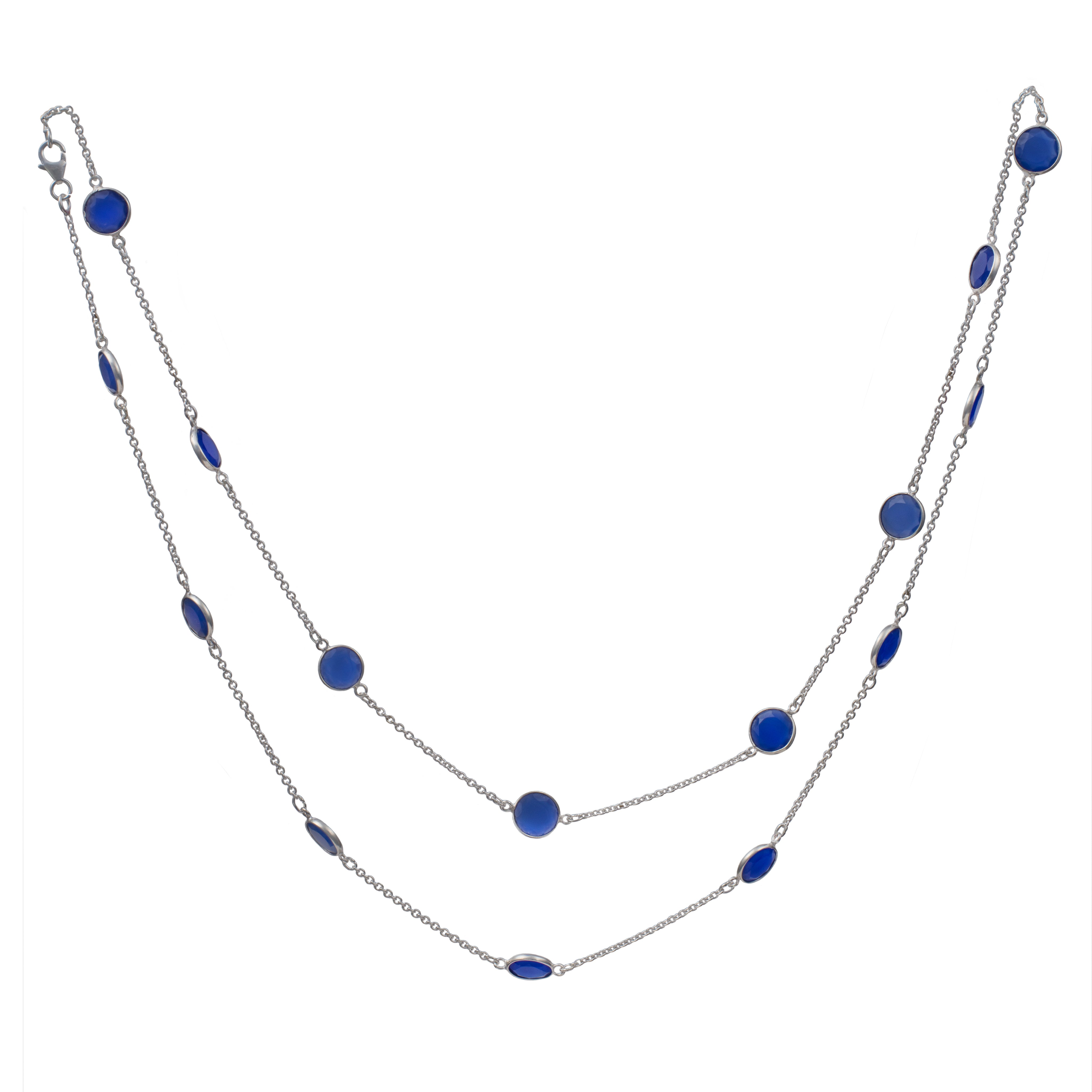 Blue Chalcedony Gemstone Necklace in Sterling Silver