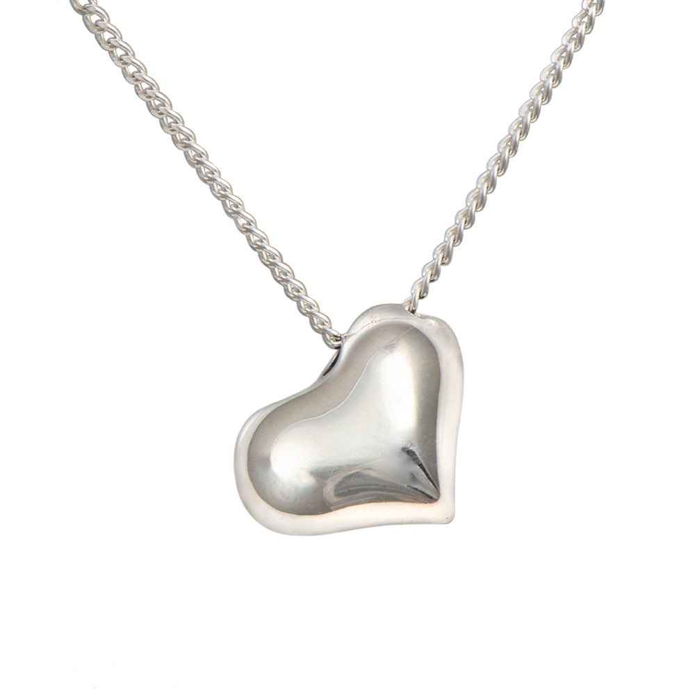 Sterling Silver Tilted Puffy Heart Necklace