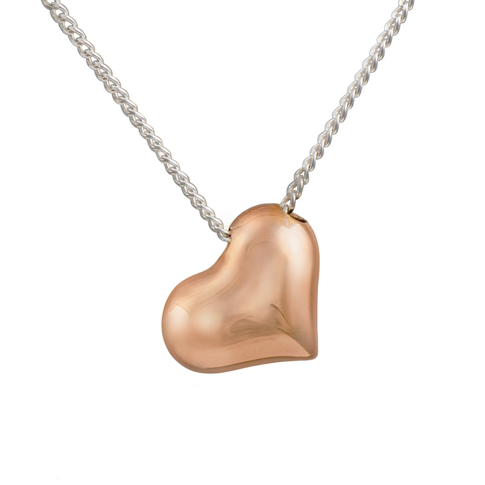 Rose Gold Plated Sterling Silver Tilted Puffy Heart Necklace