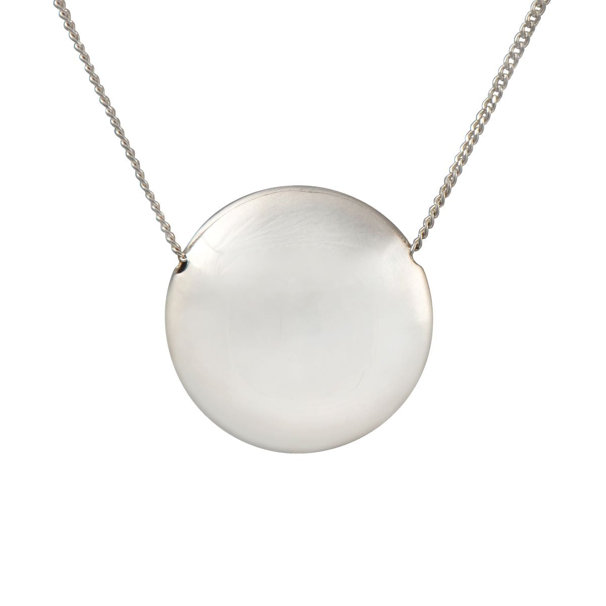 Sterling Silver Necklace with Big Hollow Disc Pendant