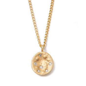 Necklace in 9k Yellow Gold with Small Disc Pendant and Diamonds