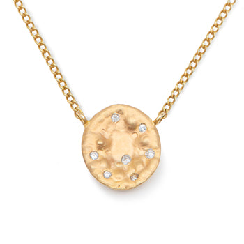 Necklace in 9k Yellow Gold with Big disc and diamonds
