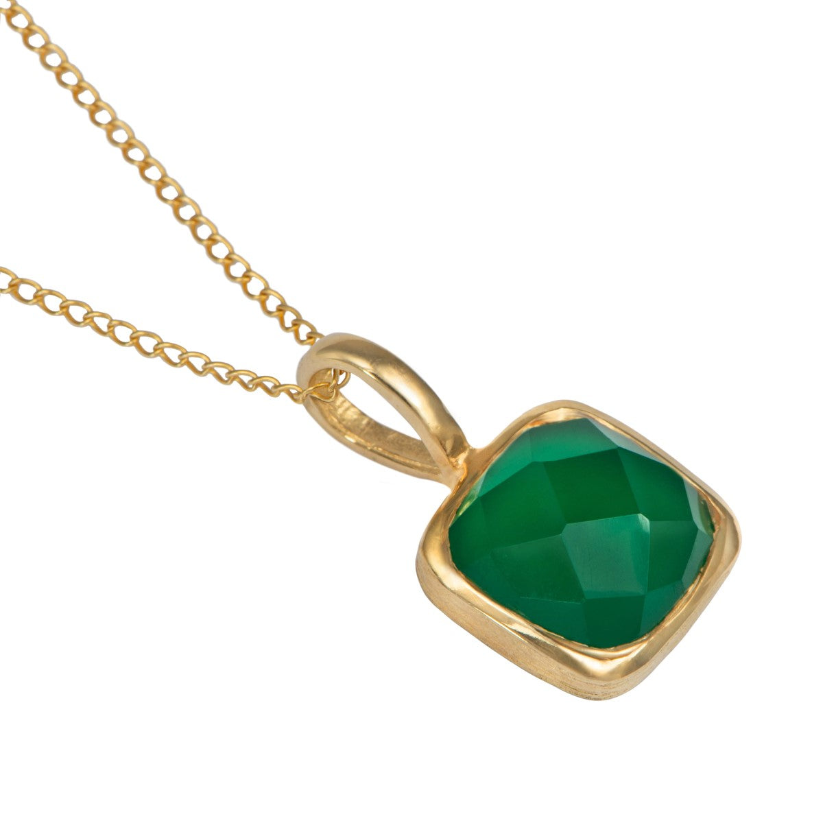 Gold Plated Sterling Silver Pendant Necklace with a Faceted Square Gemstone - Green Onyx