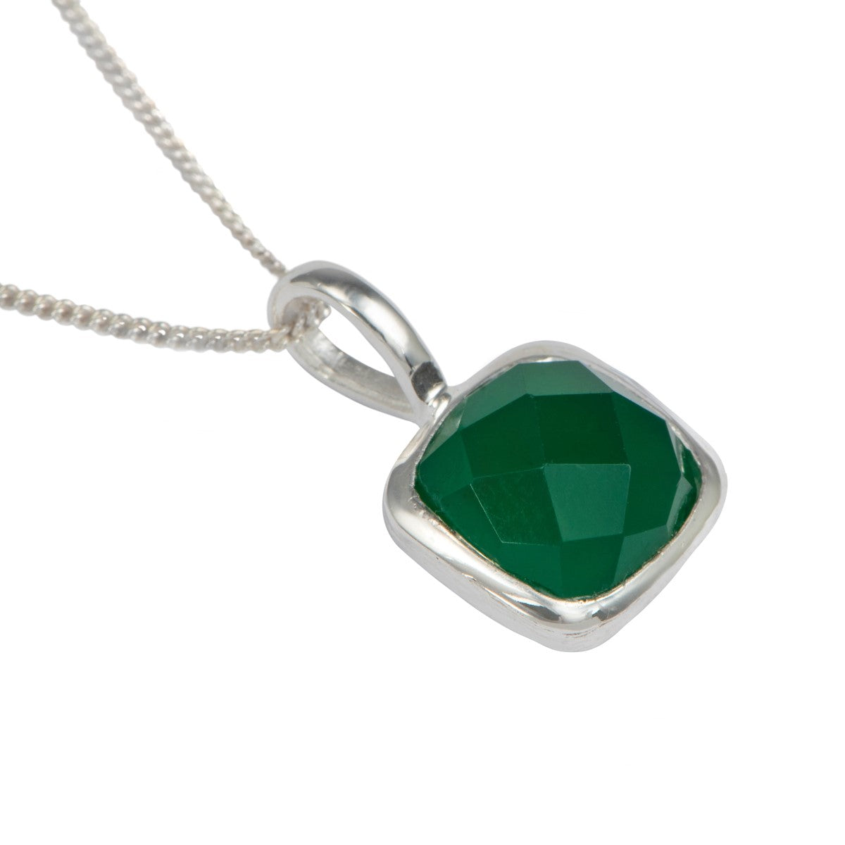 Sterling Silver Pendant Necklace with a Faceted Square Gemstone - Green Onyx