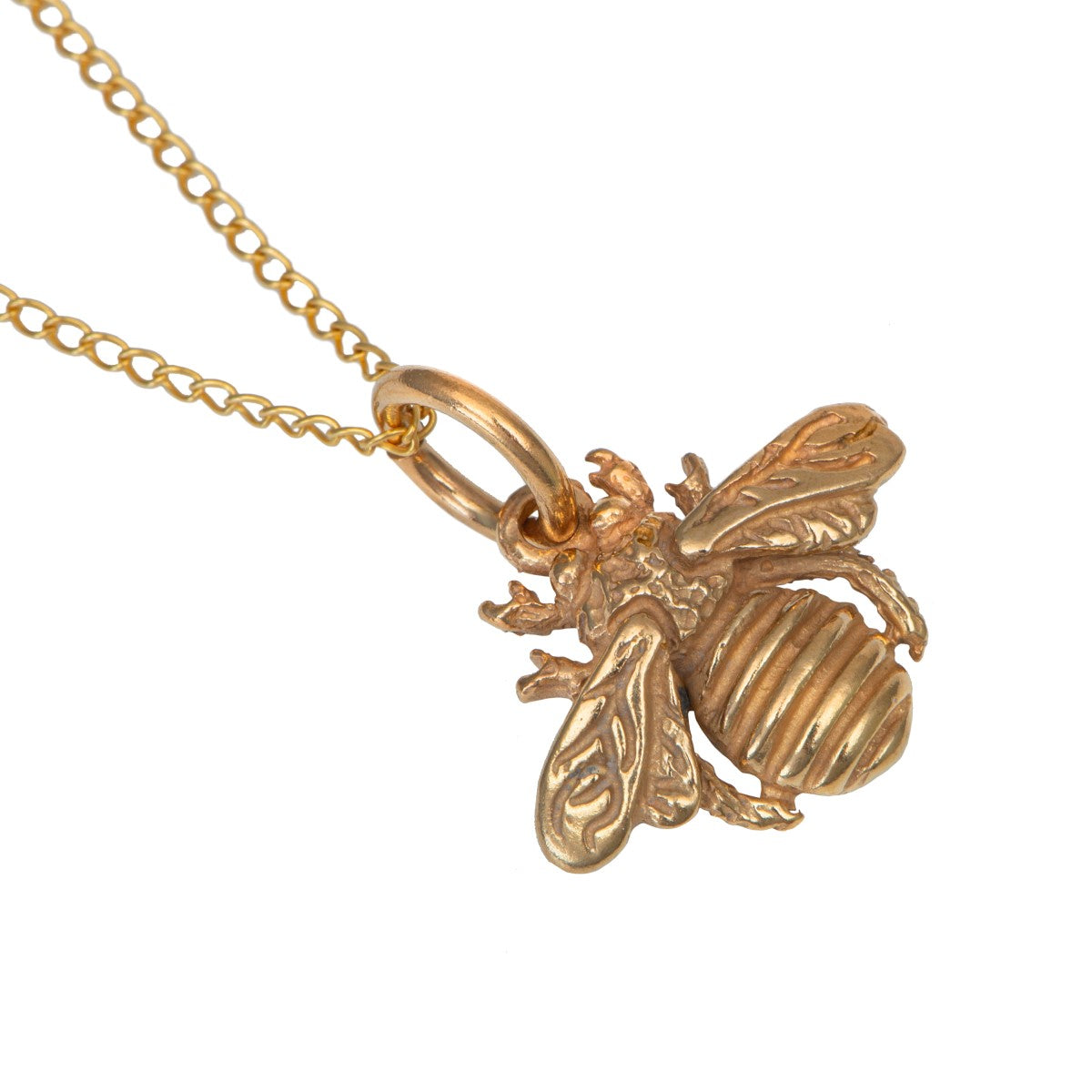 Gold Plated Sterling Silver Bee Pendant Necklace