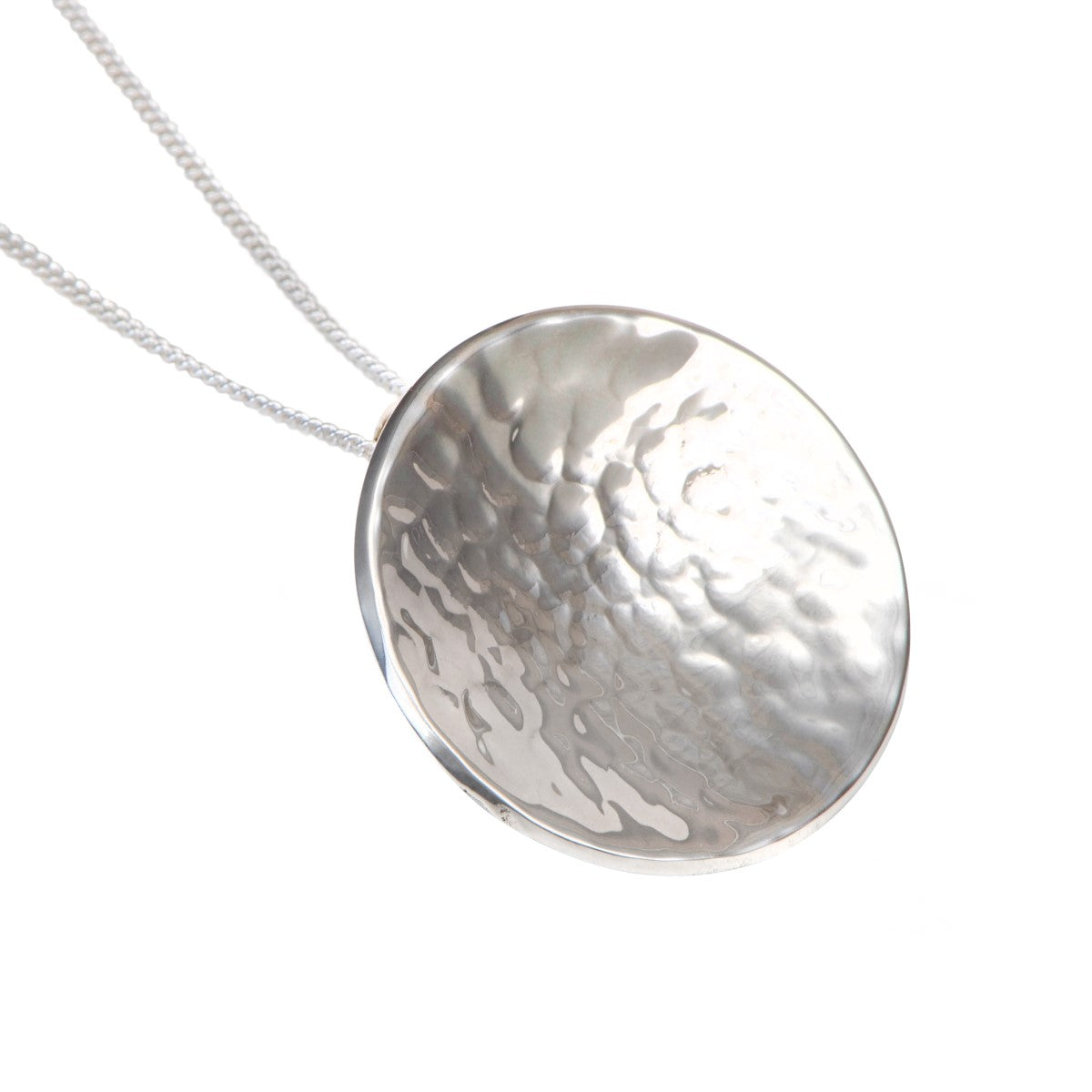 Large Sterling Silver Round Hammered Disc Pendant Necklace