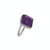 Silver Ring with Square Semiprecious Stone - Amethyst