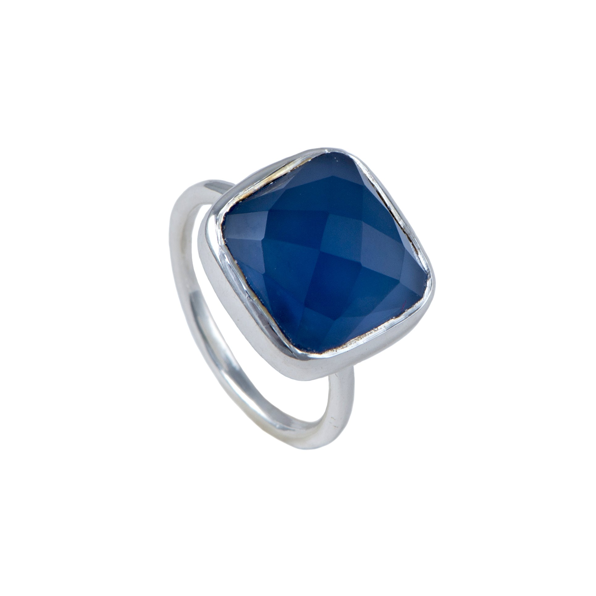Silver Ring with Square Semiprecious Stone - Blue Chalcedony