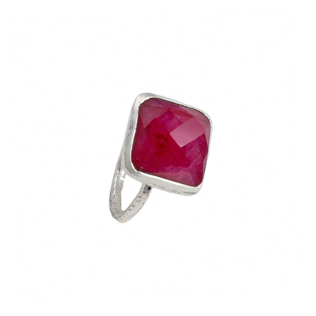 Sterling Silver Ring with Square Semiprecious Stone - Ruby Quartz