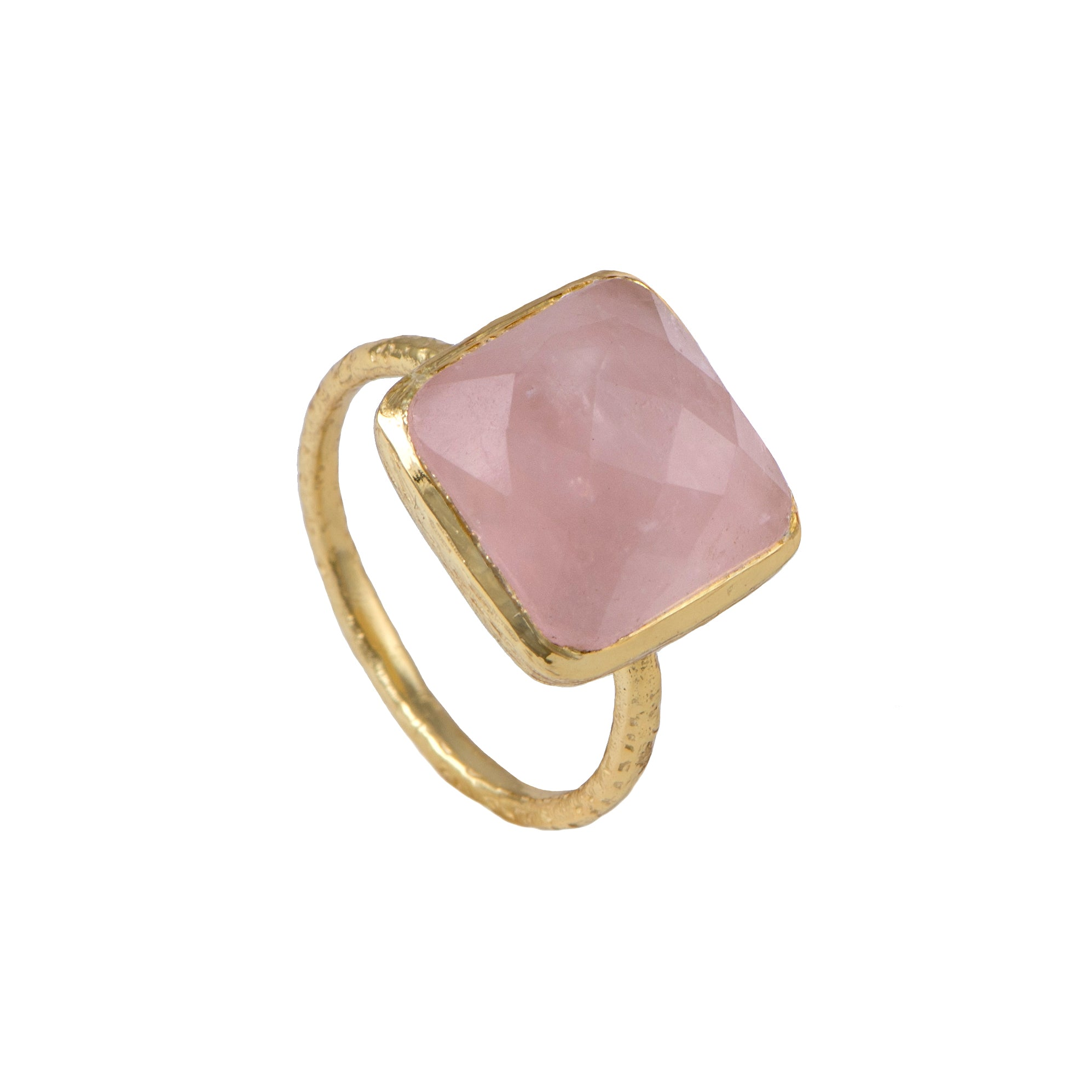 Gold Plated Silver Ring with Square Semiprecious Stone - Rose Quartz
