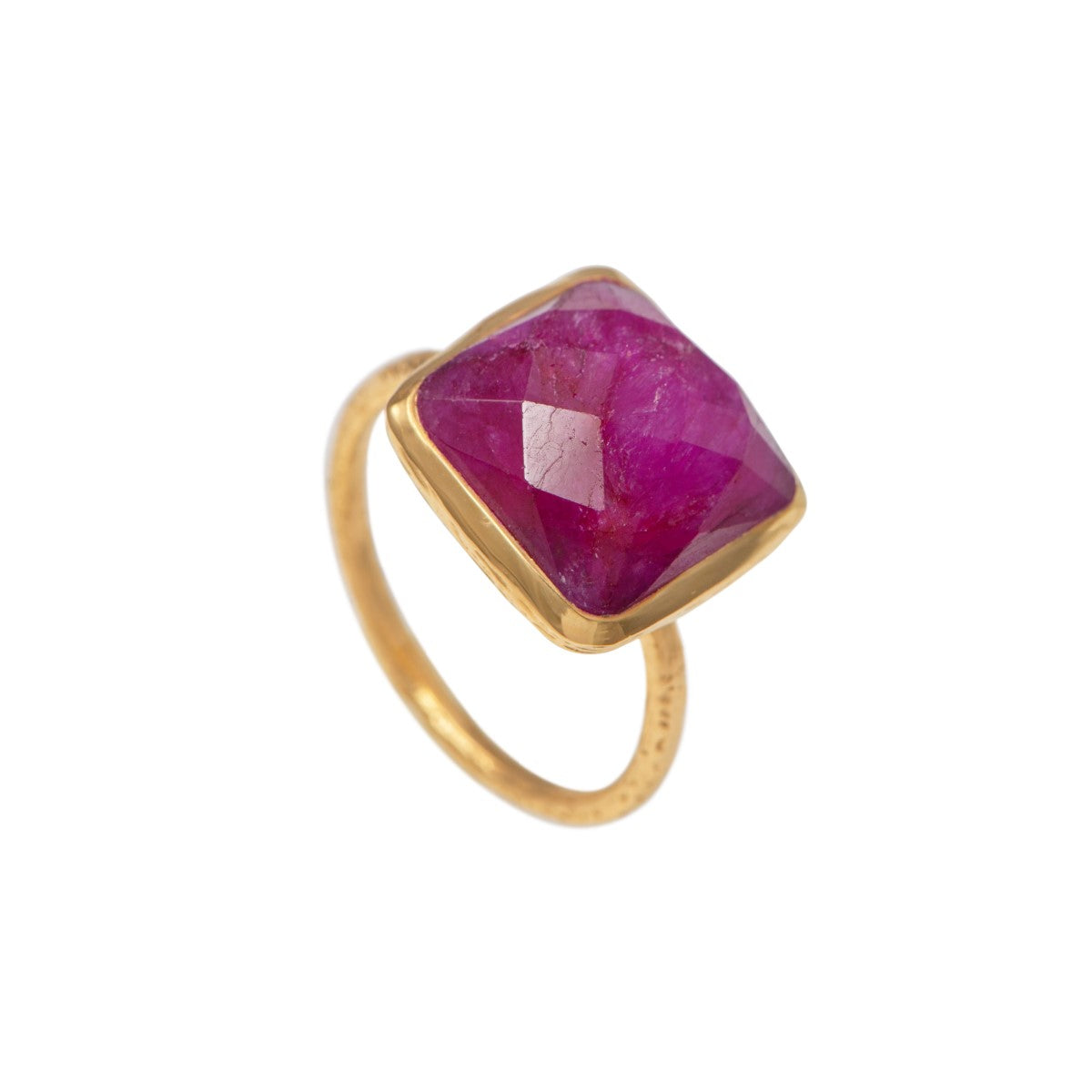 Gold Plated Silver Ring with Square Semiprecious Stone - Ruby Quartz