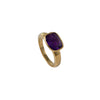 Faceted Rectangular Cut Natural Gemstone Gold Plated Sterling Silver Ring - Amethyst
