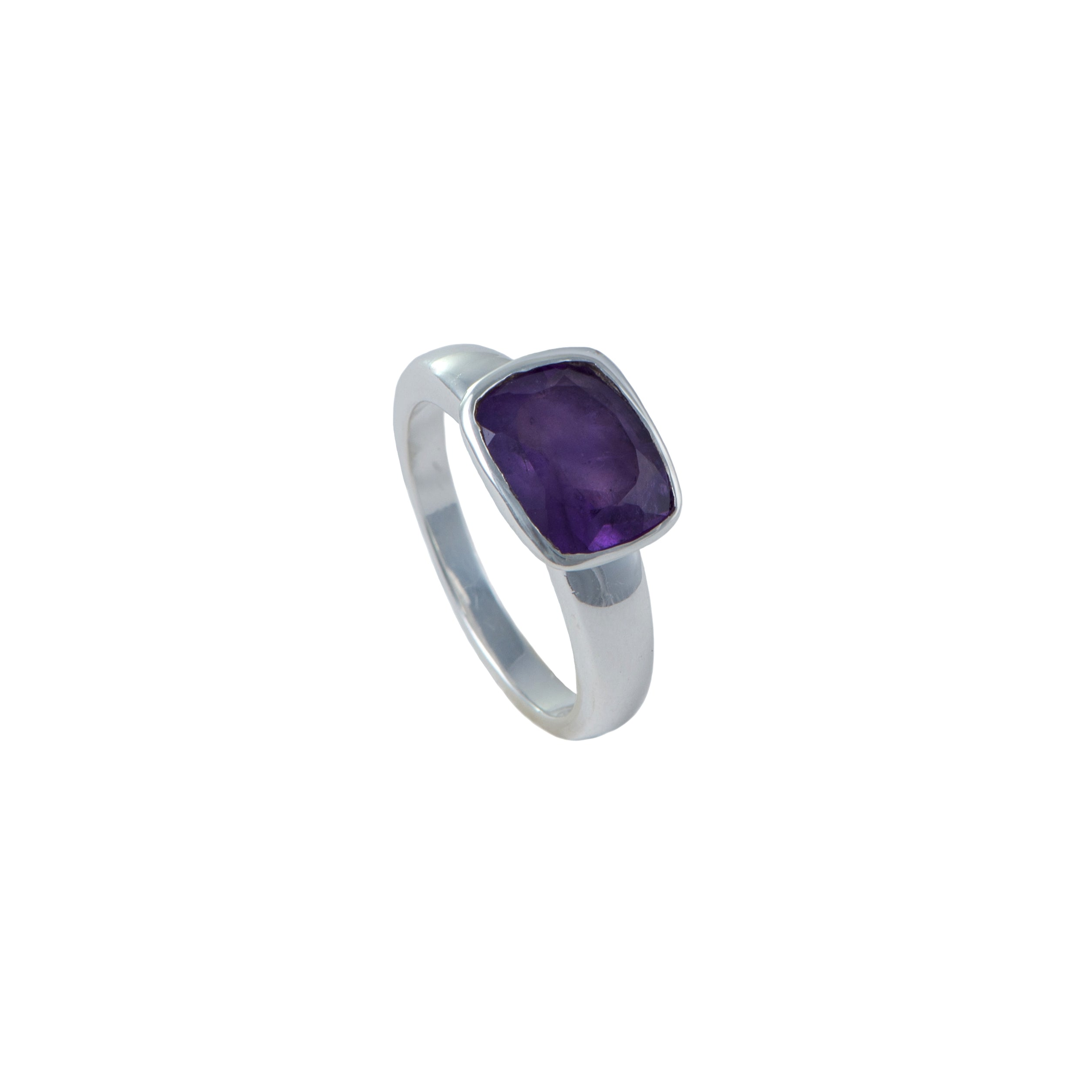Faceted Rectangular Cut Natural Gemstone Sterling Silver Ring