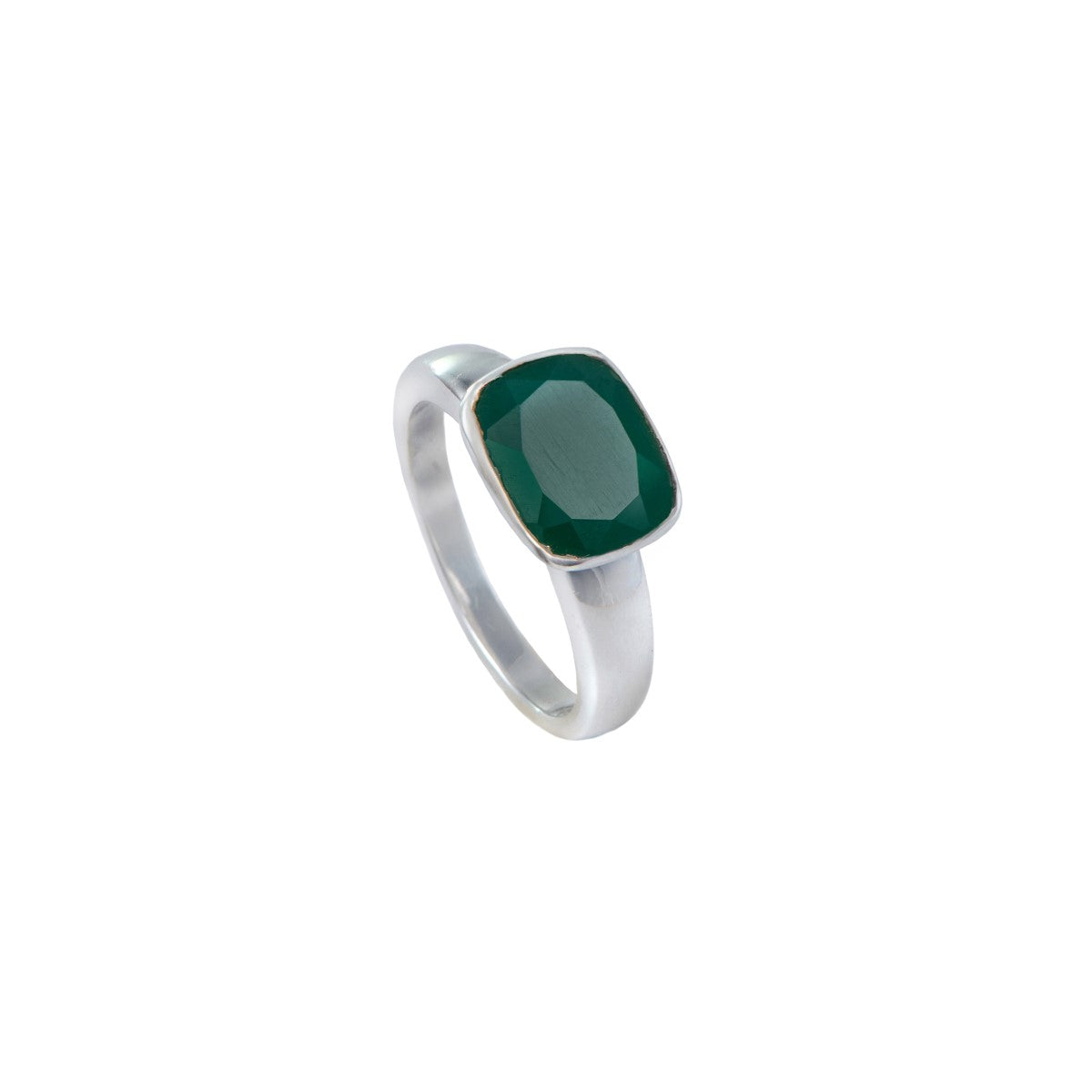 Faceted Rectangular Cut Natural Gemstone Sterling Silver Ring - Green Onyx