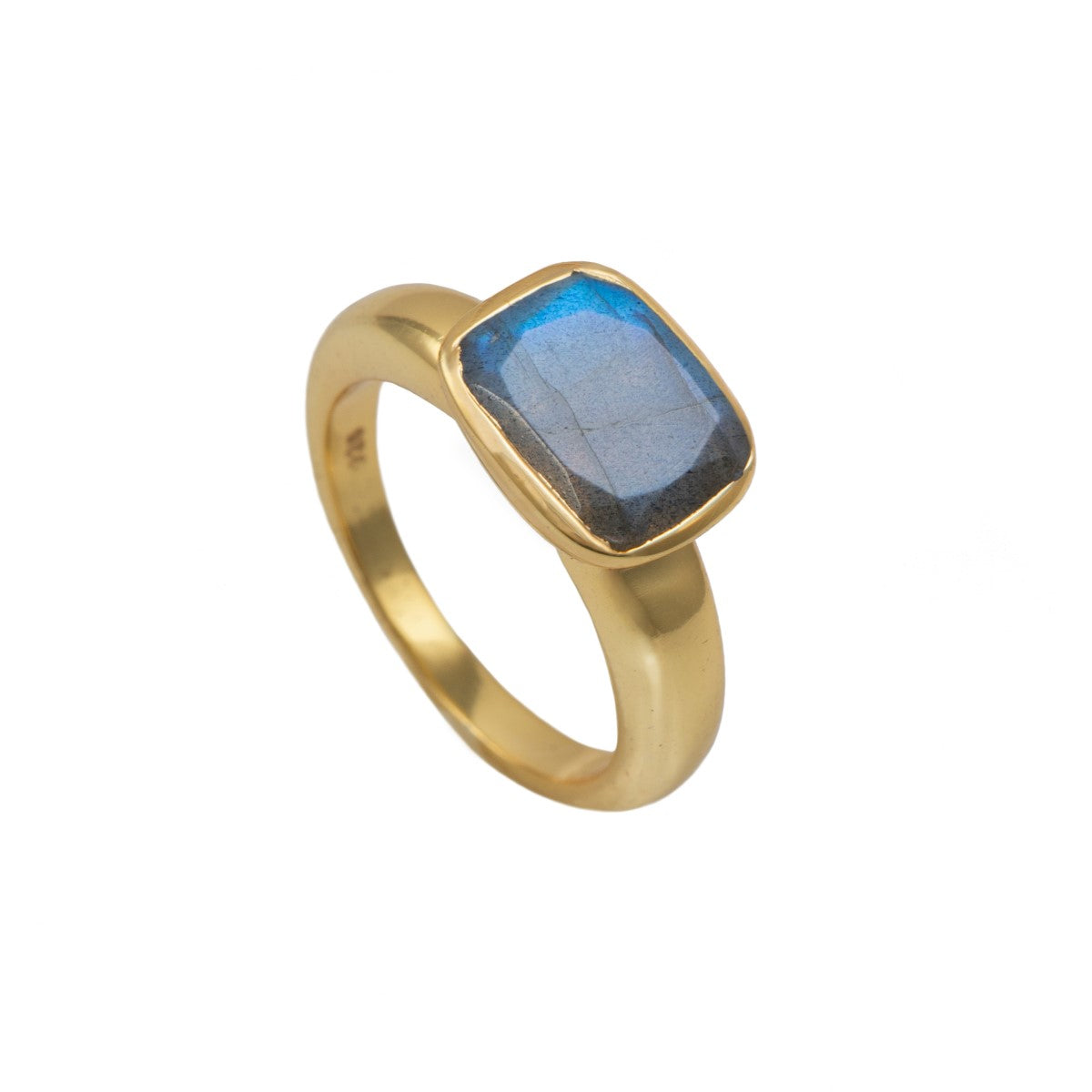 Faceted Rectangular Cut Natural Gemstone Gold Plated Sterling Silver Ring - Labradorite