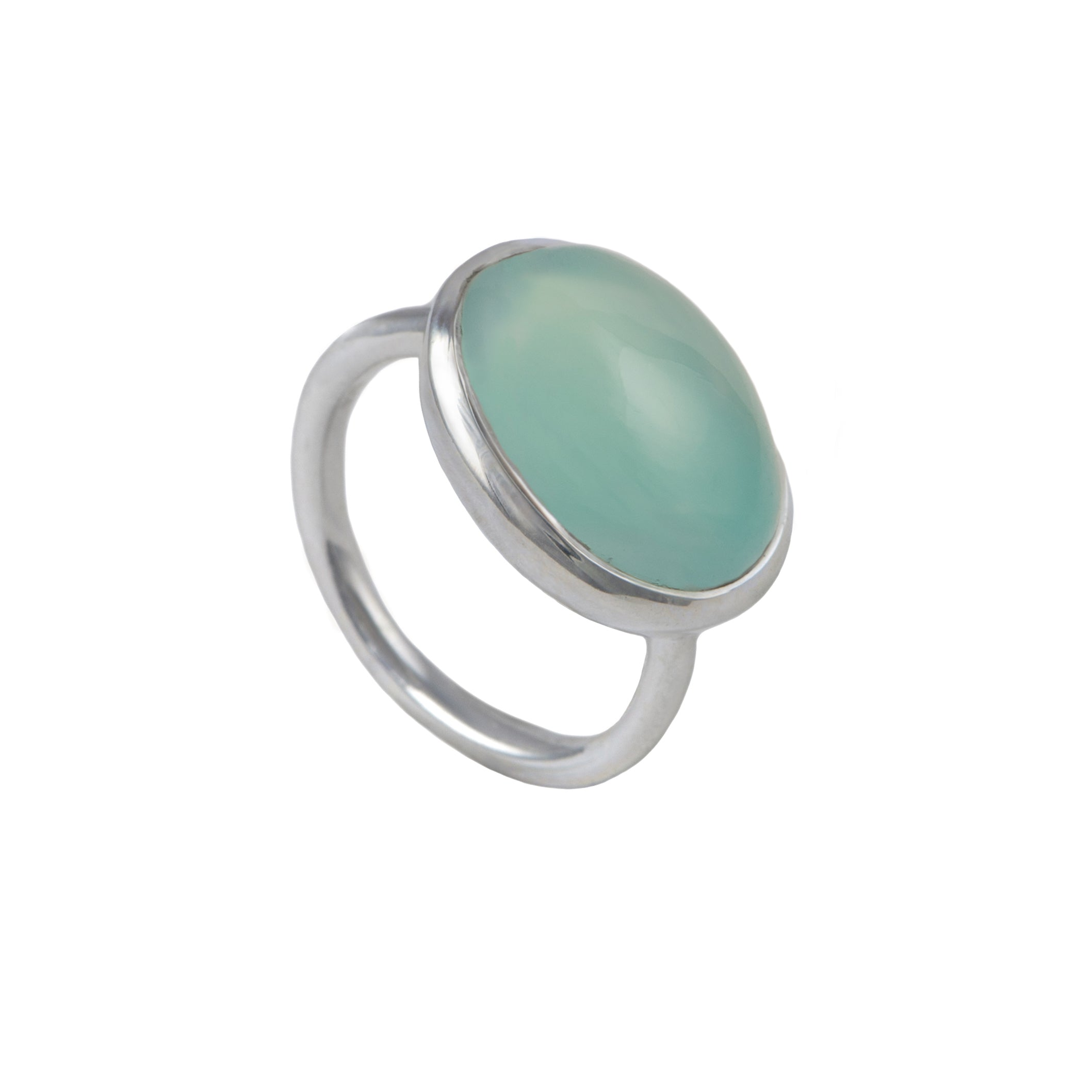Cabochon Oval Cut Natural Gemstone Sterling Silver Ring - Aqua Chalcedony