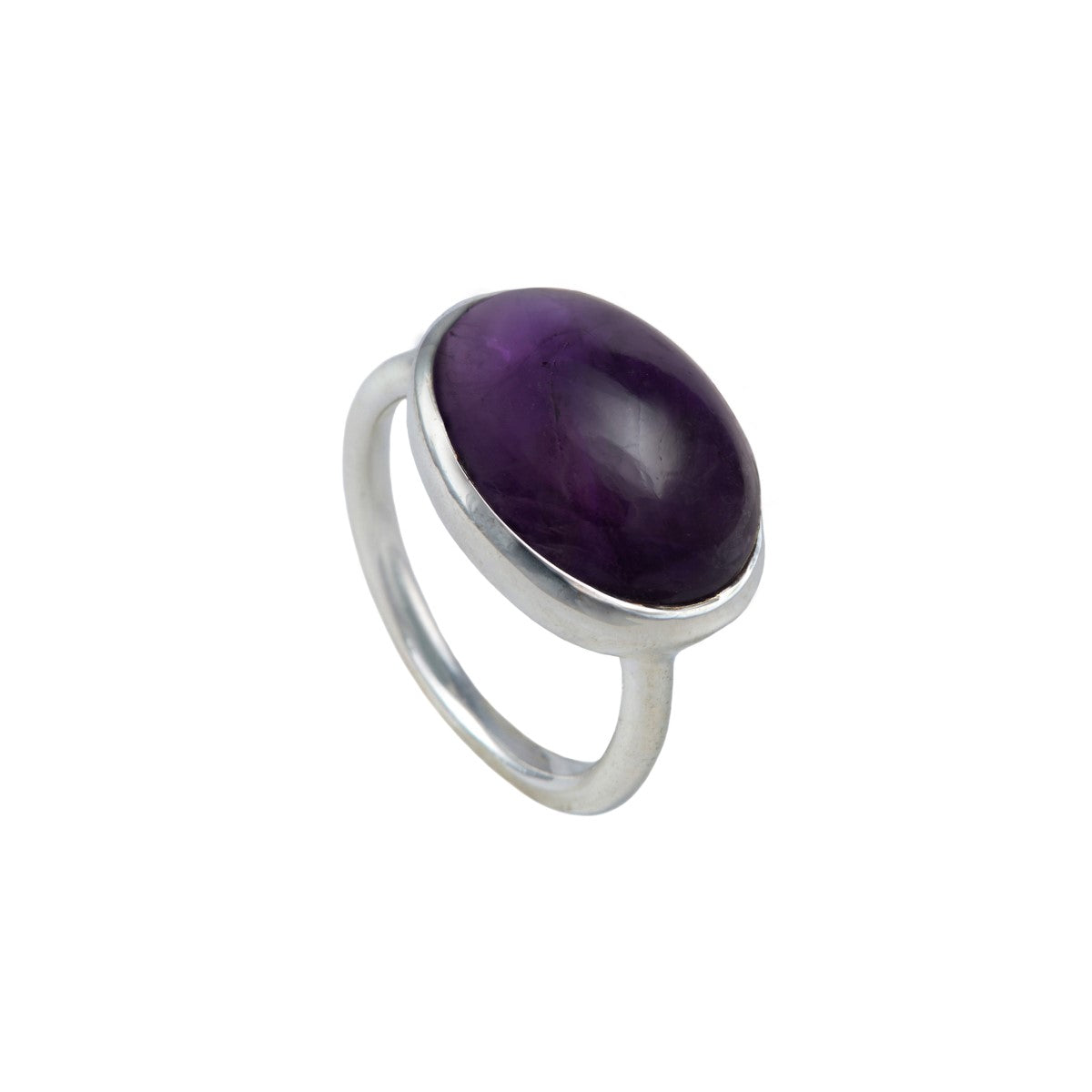 Cabochon Oval Cut Natural Gemstone Sterling Silver Ring - Amethyst