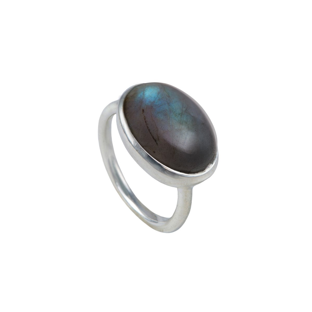 Cabochon Oval Cut Natural Gemstone Sterling Silver Ring - Labradorite