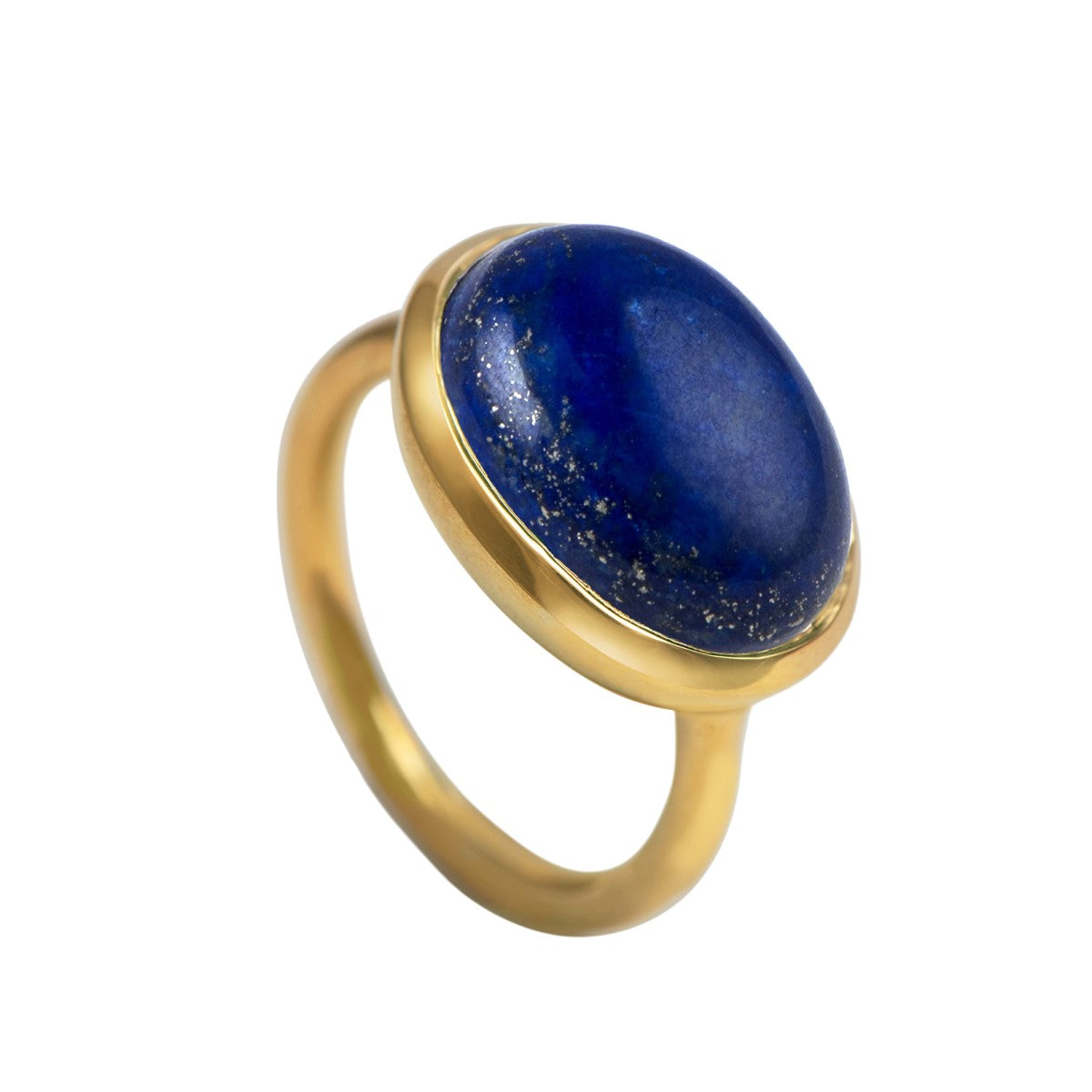 Cabochon Oval Cut Natural Gemstone Gold Plated Sterling Silver Ring - Lapis Lazuli