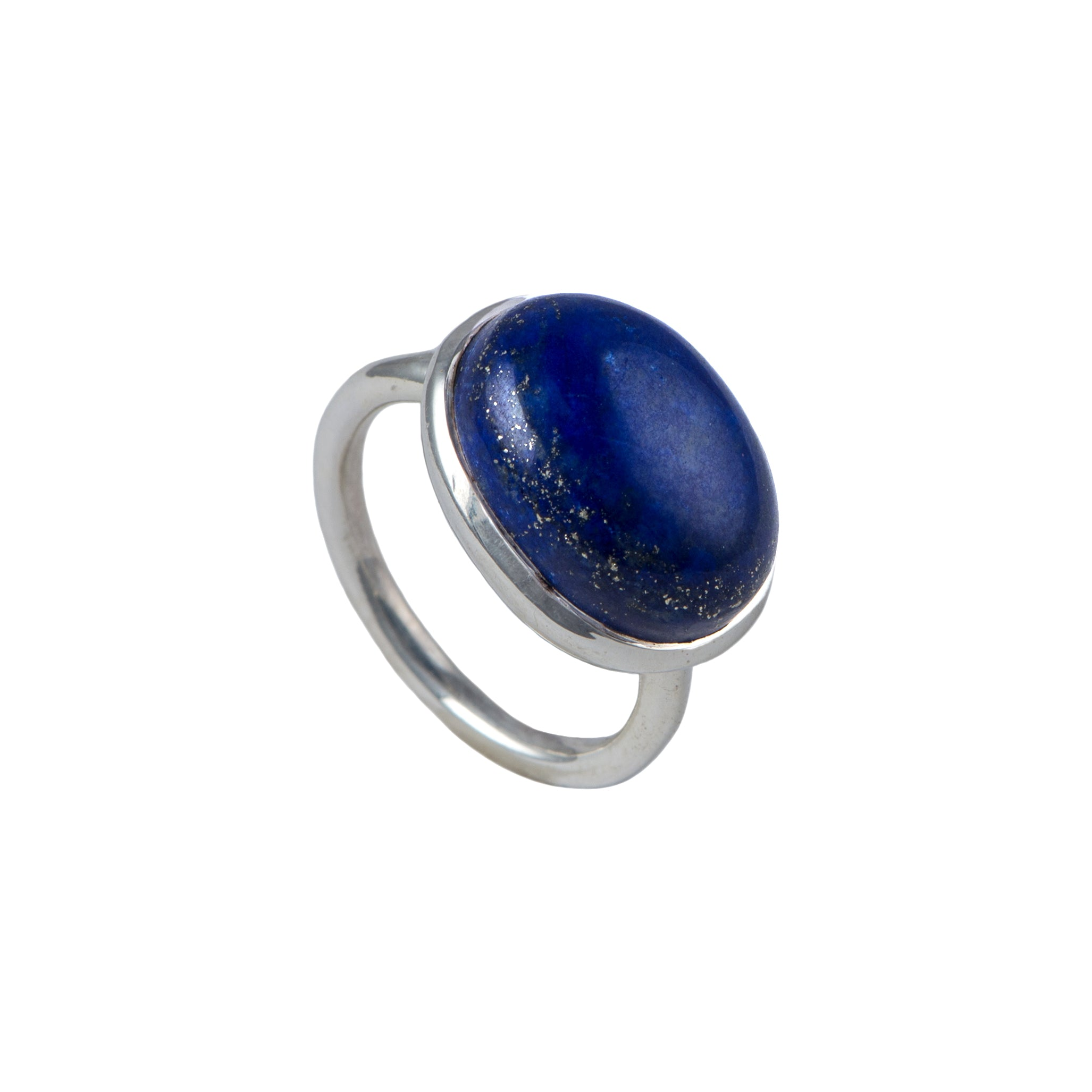 Cabochon Oval Cut Natural Gemstone Sterling Silver Ring - Lapis Lazuli