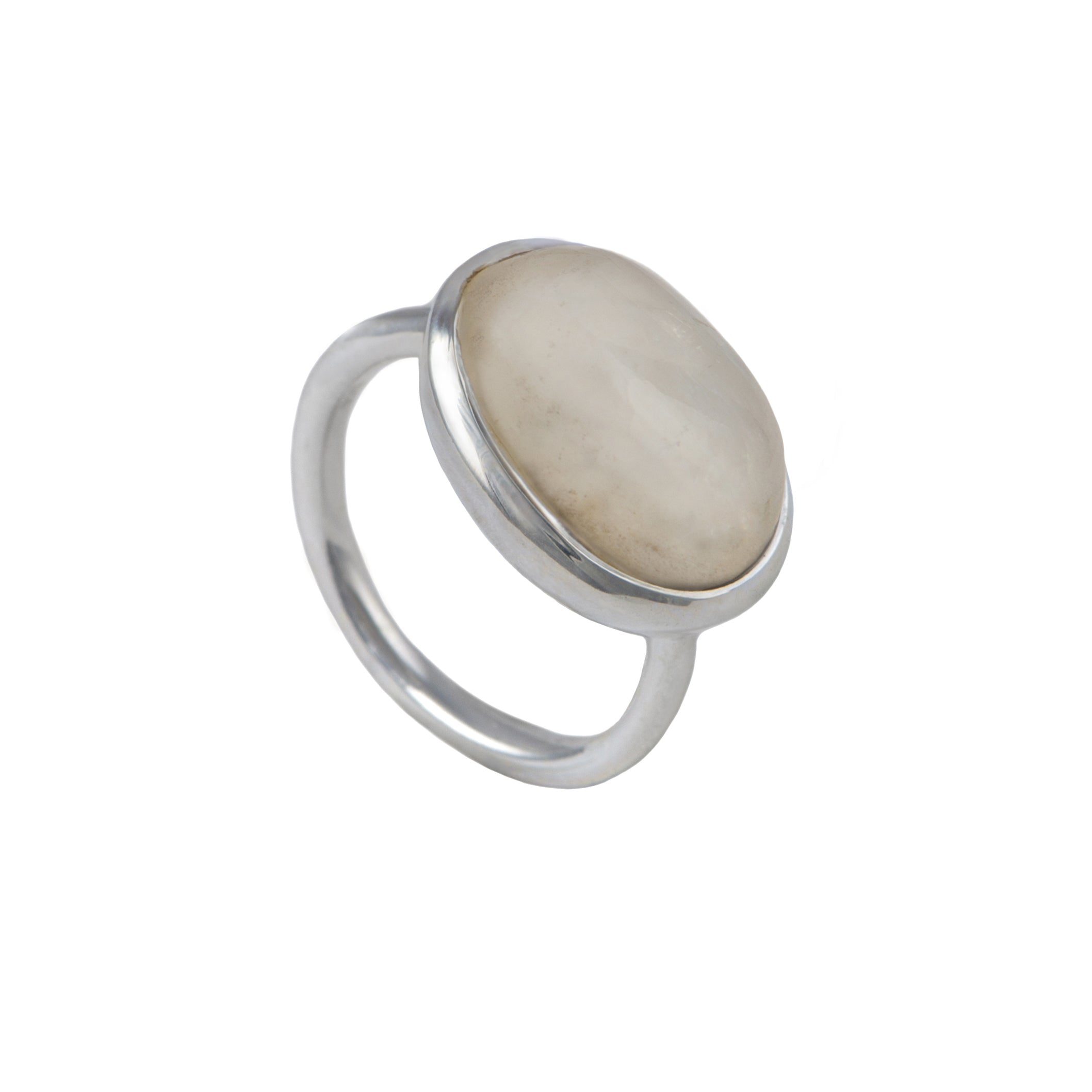 Cabochon Oval Cut Natural Gemstone Sterling Silver Ring
