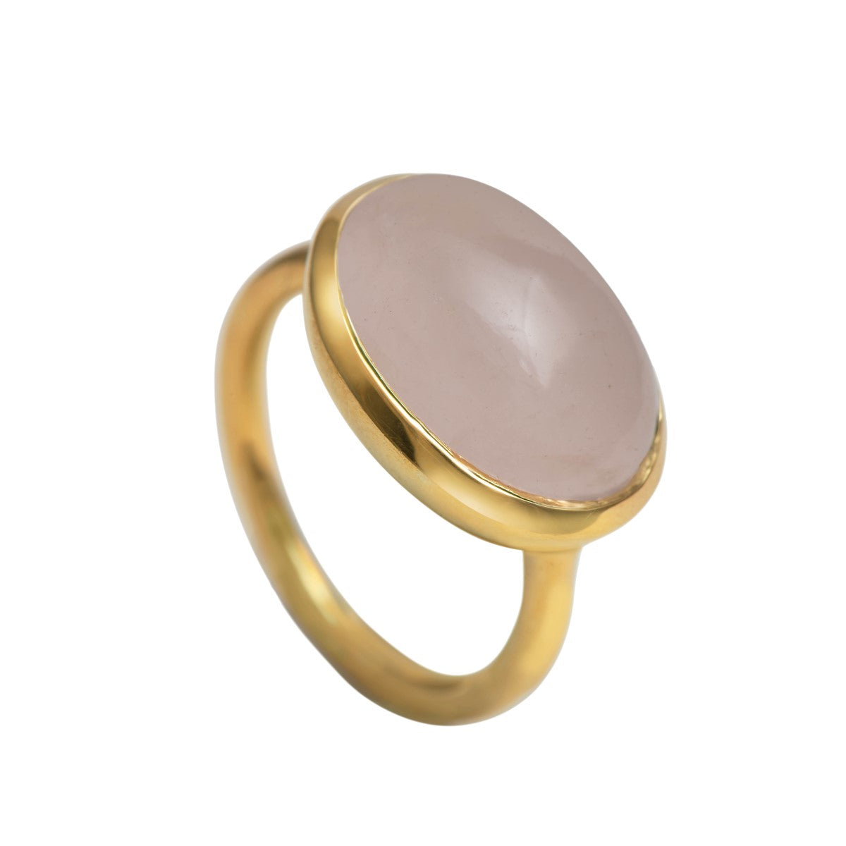 Cabochon Oval Cut Natural Gemstone Gold Plated Sterling Silver Ring - Rose Quartz