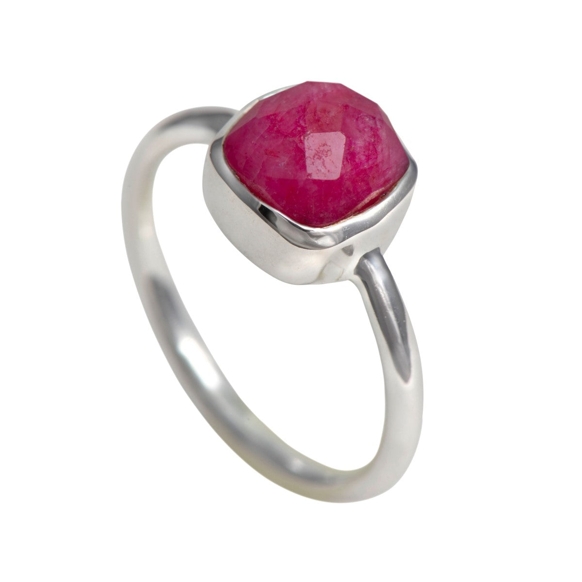 Faceted Square Cut Natural Gemstone Sterling Silver Solitaire Ring - Ruby Quartz