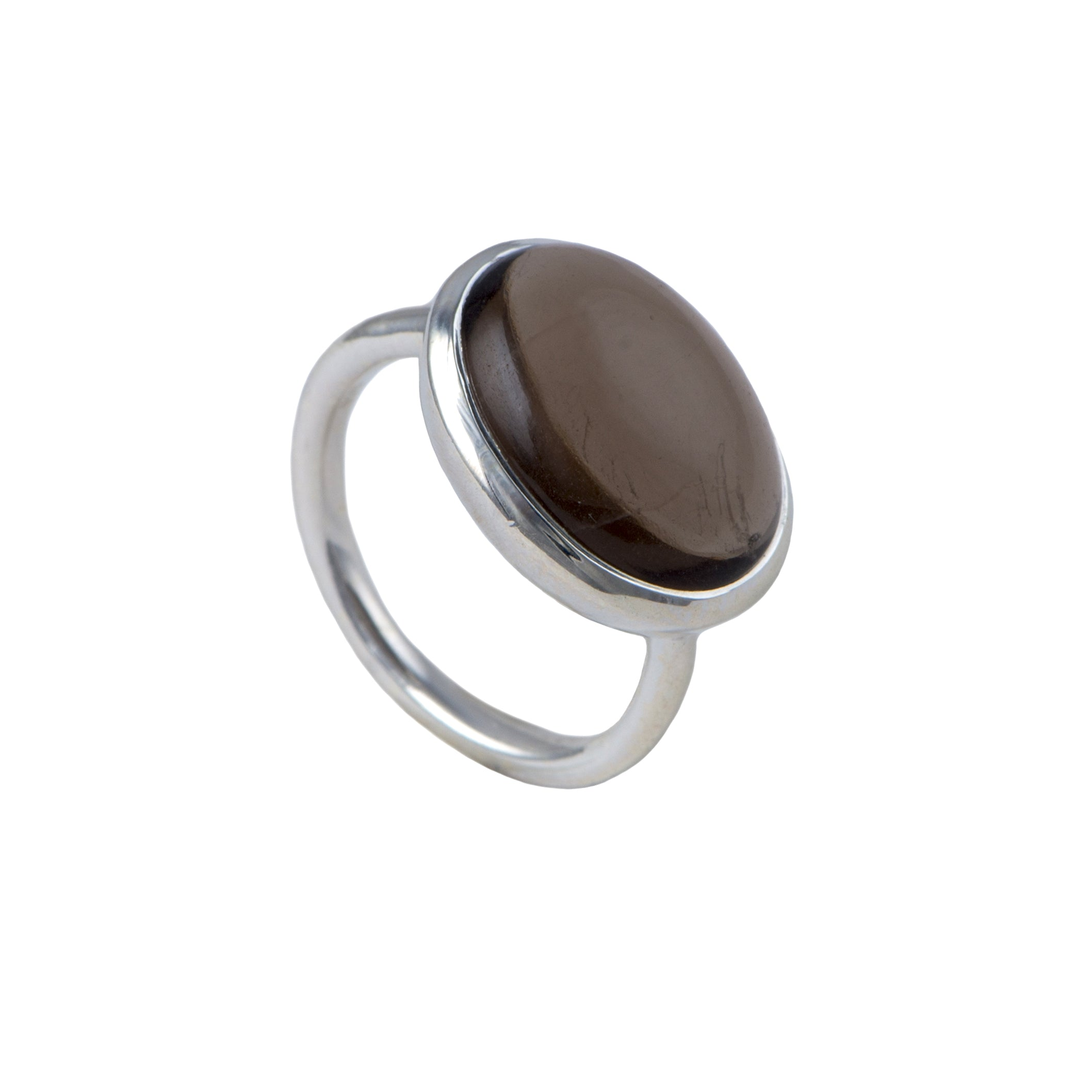 Cabochon Oval Cut Natural Gemstone Sterling Silver Ring - Smoky Quartz