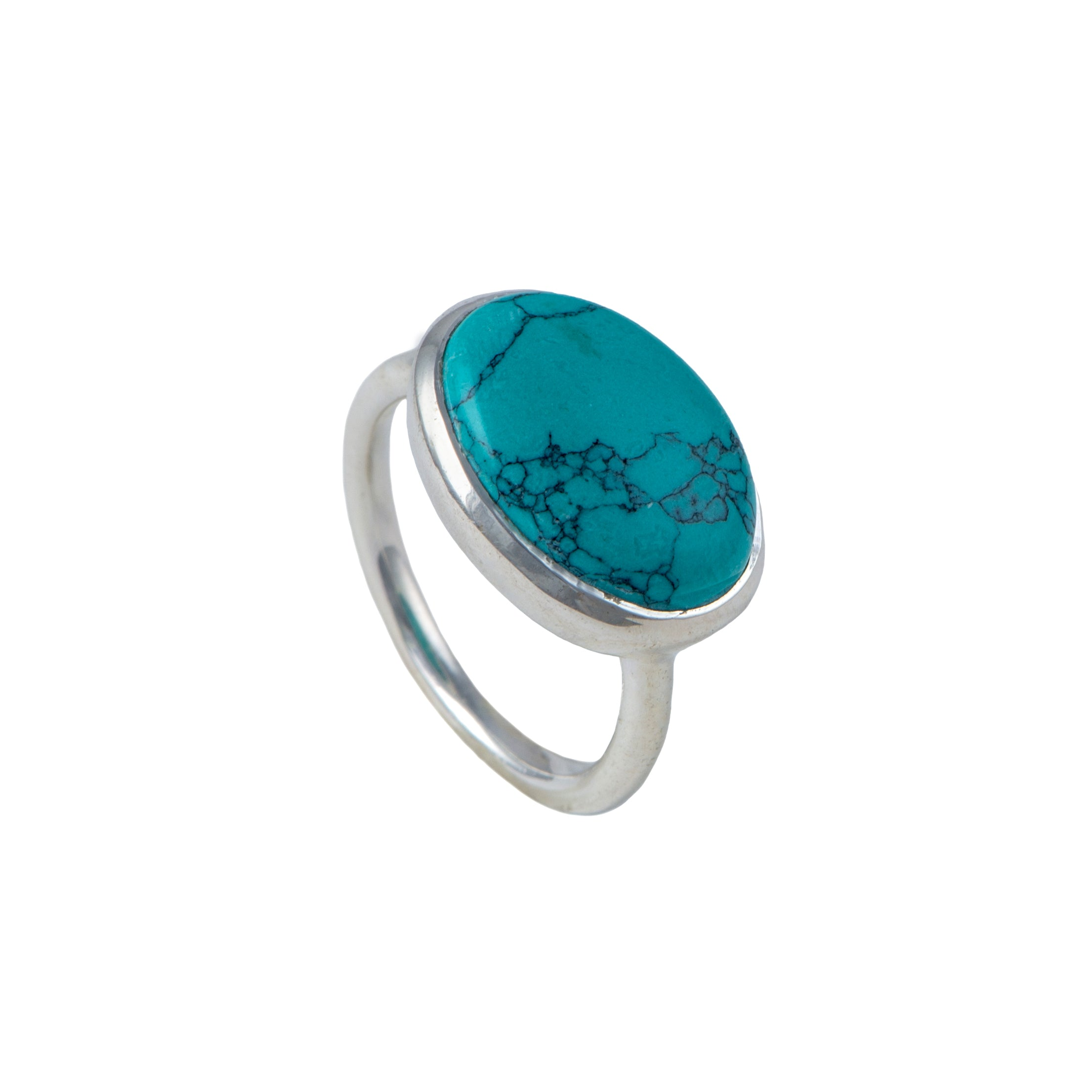 Cabochon Oval Cut Natural Gemstone Sterling Silver Ring - Turquoise