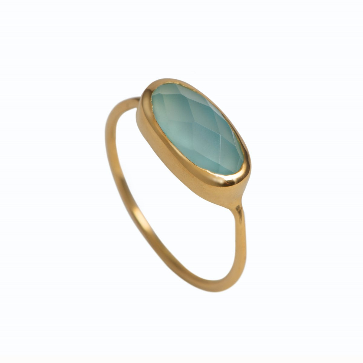 Faceted Oval Cut Natural Gemstone Gold Plated Sterling Silver Fine Band Ring - Aqua Chalcedony