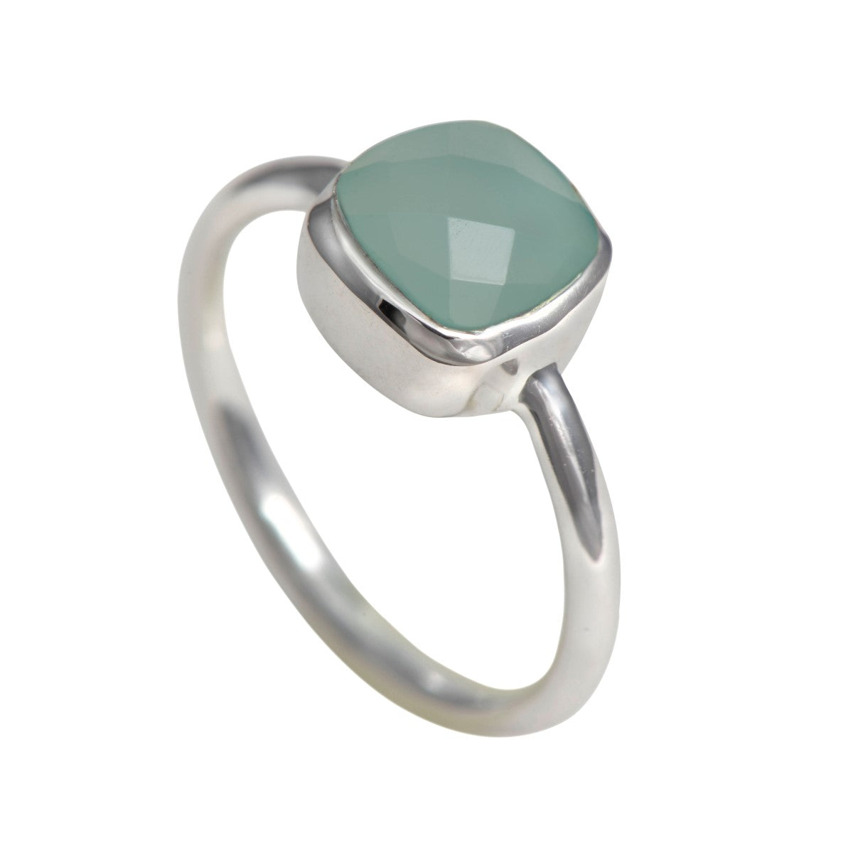 Faceted Square Cut Natural Gemstone Sterling Silver Solitaire Ring - Aqua Chalcedony