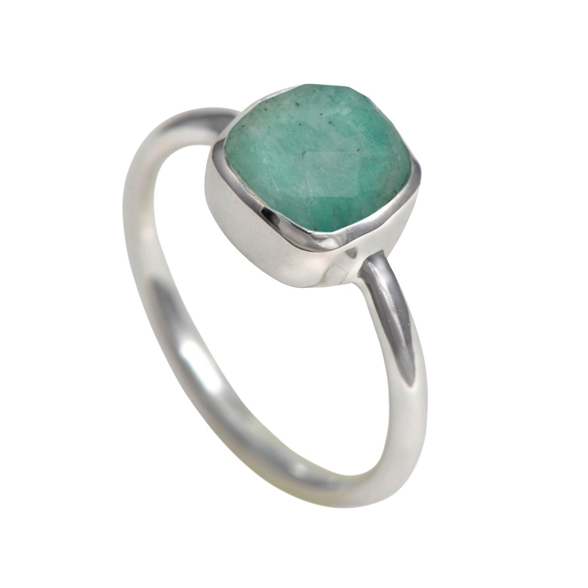 Faceted Square Cut Natural Gemstone Sterling Silver Solitaire Ring - Amazonite