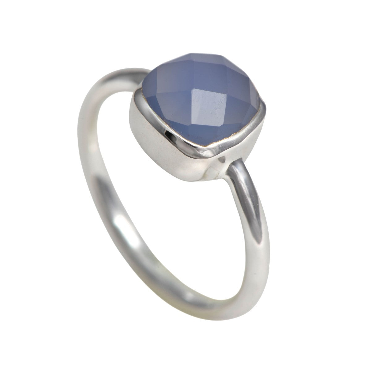 Faceted Square Cut Natural Gemstone Sterling Silver Solitaire Ring - Blue Chalcedony