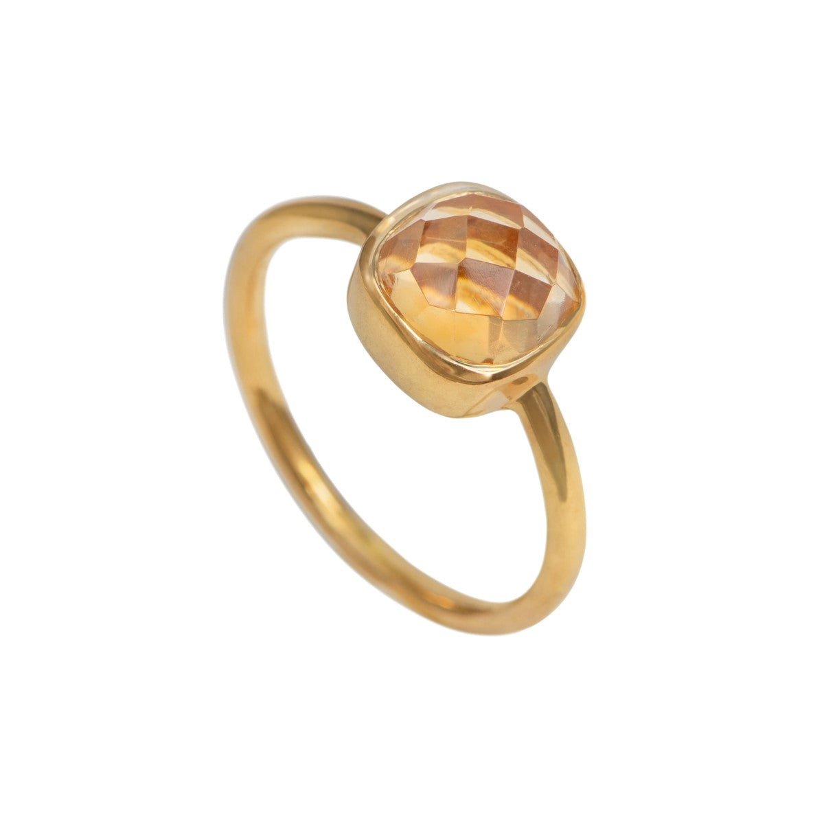 Faceted Square Cut Natural Gemstone Gold Plated Sterling Silver Solitaire Ring - Citrine